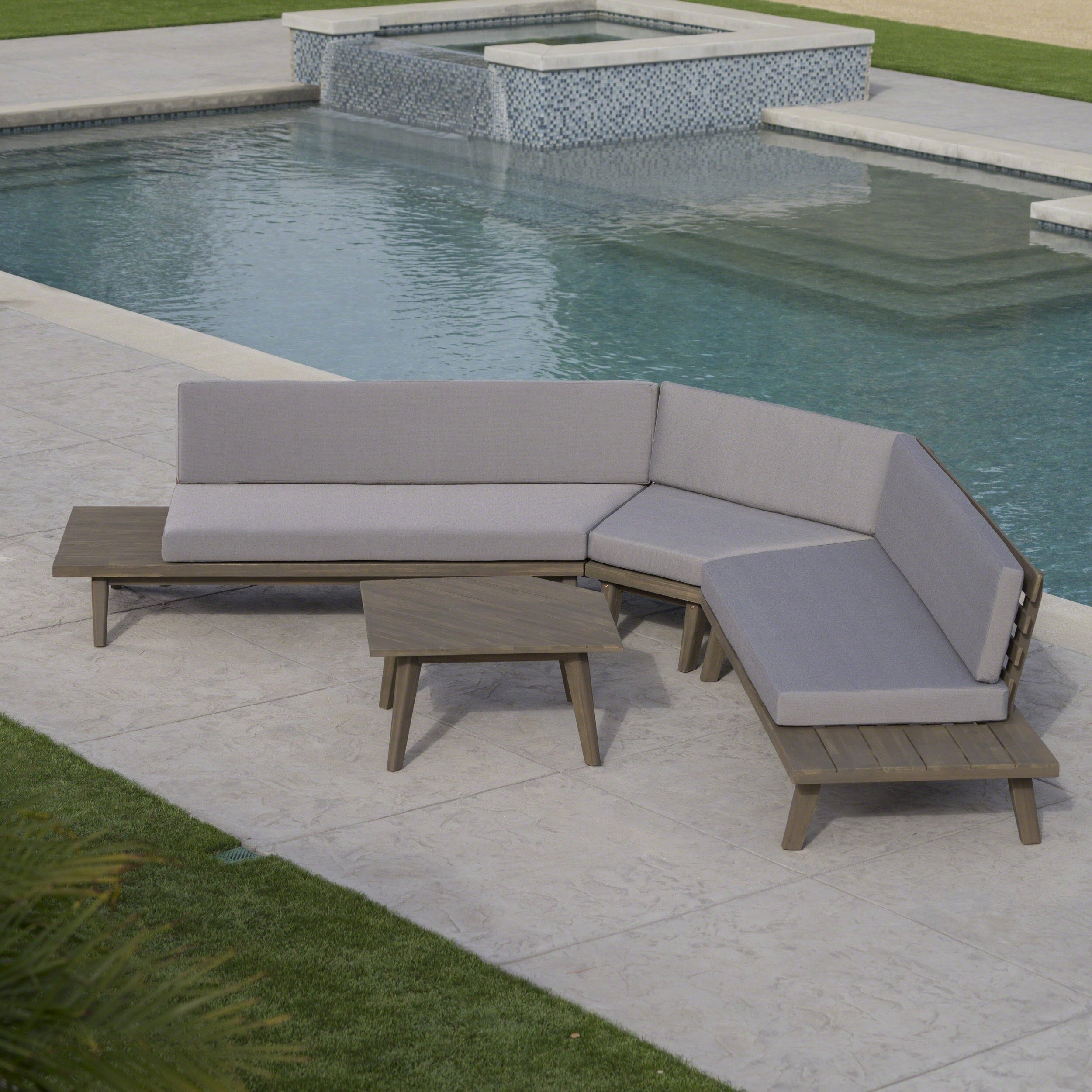 Hillcrest Outdoor 4 Piece V Shaped Wood Sectional Sofa Set With Cushion By Christopher Knight Home Ships To Canada Ca 18189179