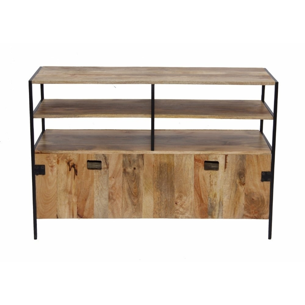 The Urban Port Wooden Tv Console Stand With Storage Cabinet Natural Wood Finish Free Shipping Today 18189226