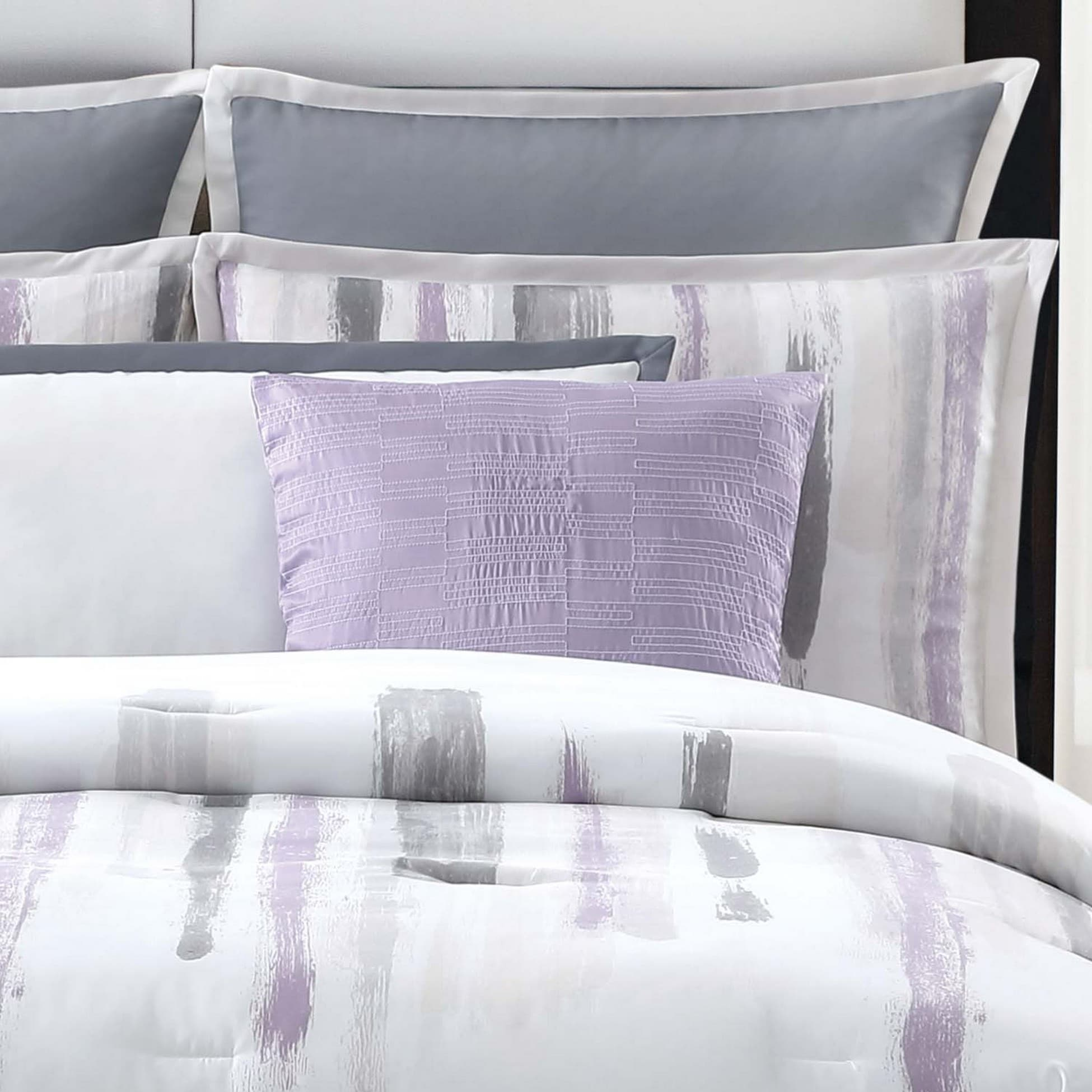 style lilac chic ease reversible bedding heathville black piece comforter long print home twin purple and chevron x pinch pleated bed with