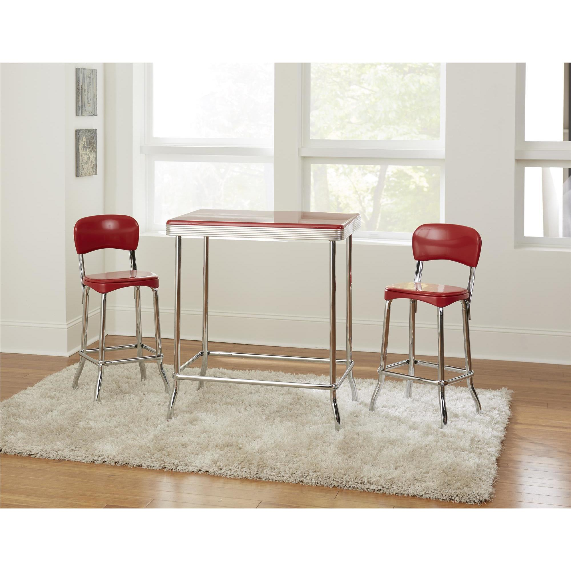 Shop COSCO Red Red Retro Chrome 2pc High Top Chairs   On Sale   Free  Shipping Today   Overstock.com   18213029