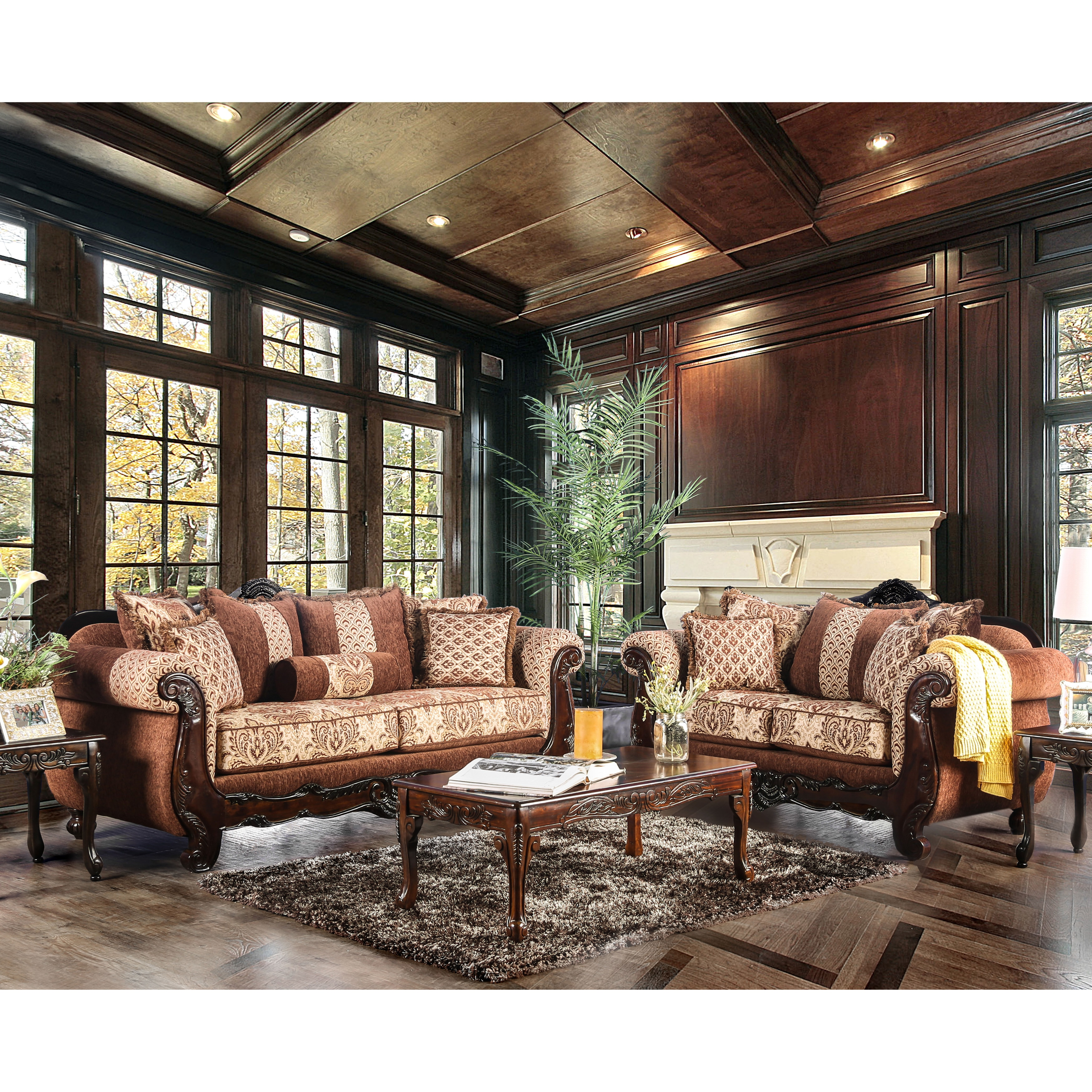 Furniture Of America Leticia Traditional 2 Piece Brown Damask Sofa Set    Free Shipping Today   Overstock.com   24355643