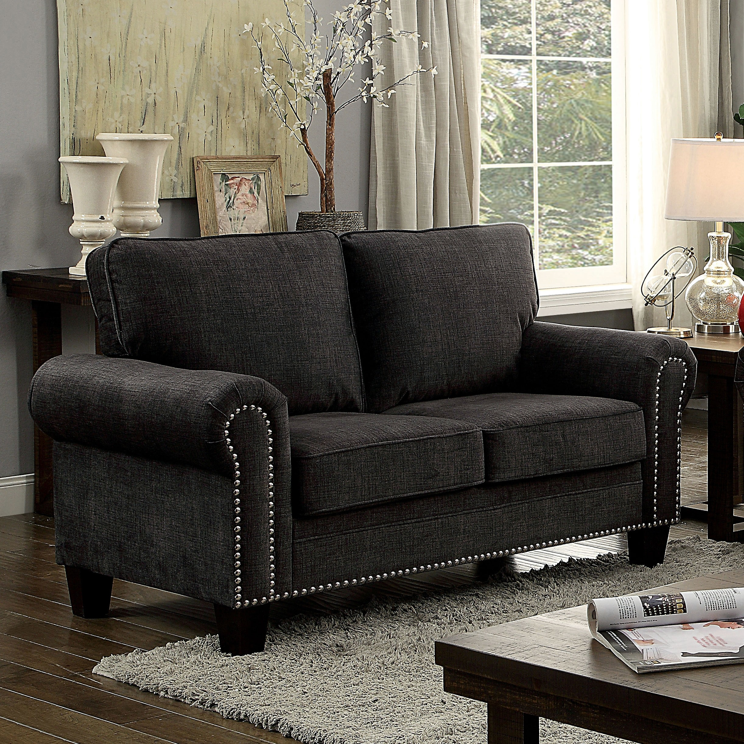 Shop Furniture Of America Jaylin 2 Piece Dark Grey Upholstered Sofa Set    Free Shipping Today   Overstock.com   18213171