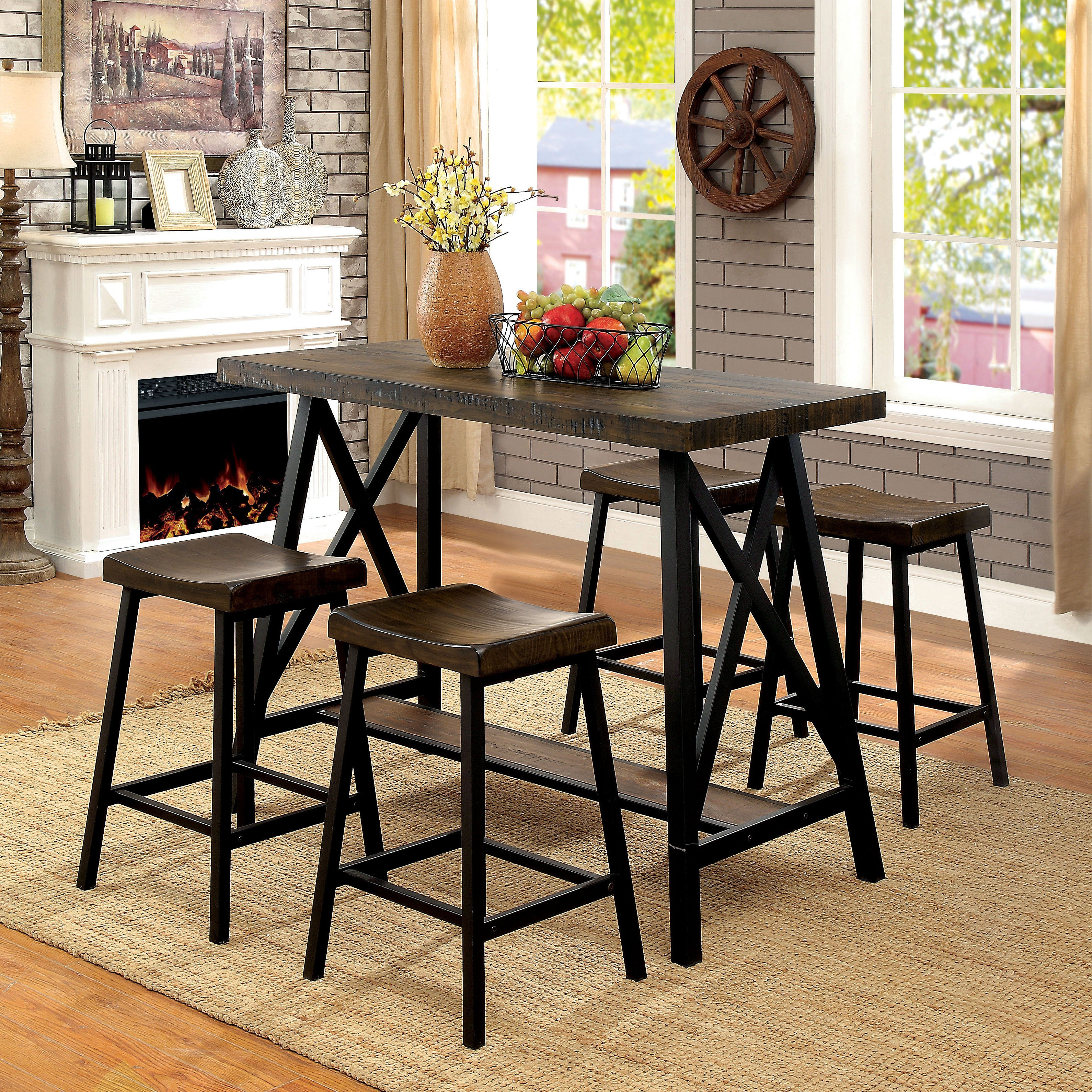 Shop Furniture Of America Hollenbeck Rustic Medium Weathered Oak U0026 Black Counter  Height Table   On Sale   Free Shipping Today   Overstock.com   18214711