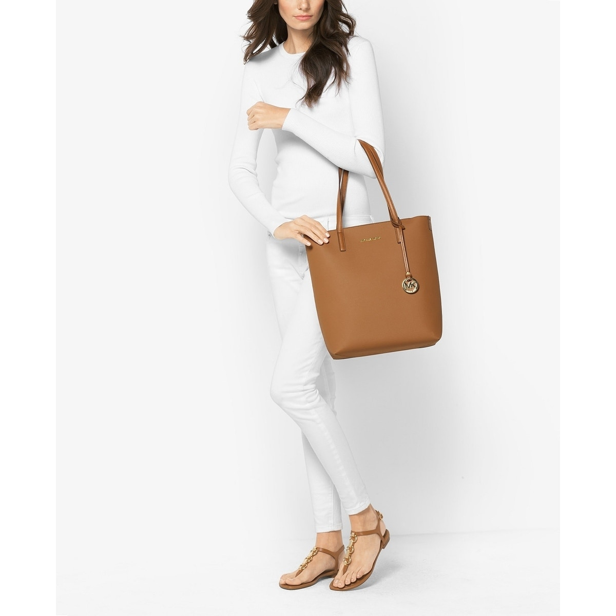 4c830a1b322f Shop MICHAEL Michael Kors Hayley Large North South Top-Zip Tote Acorn/Oyster  - Free Shipping Today - Overstock - 18214864