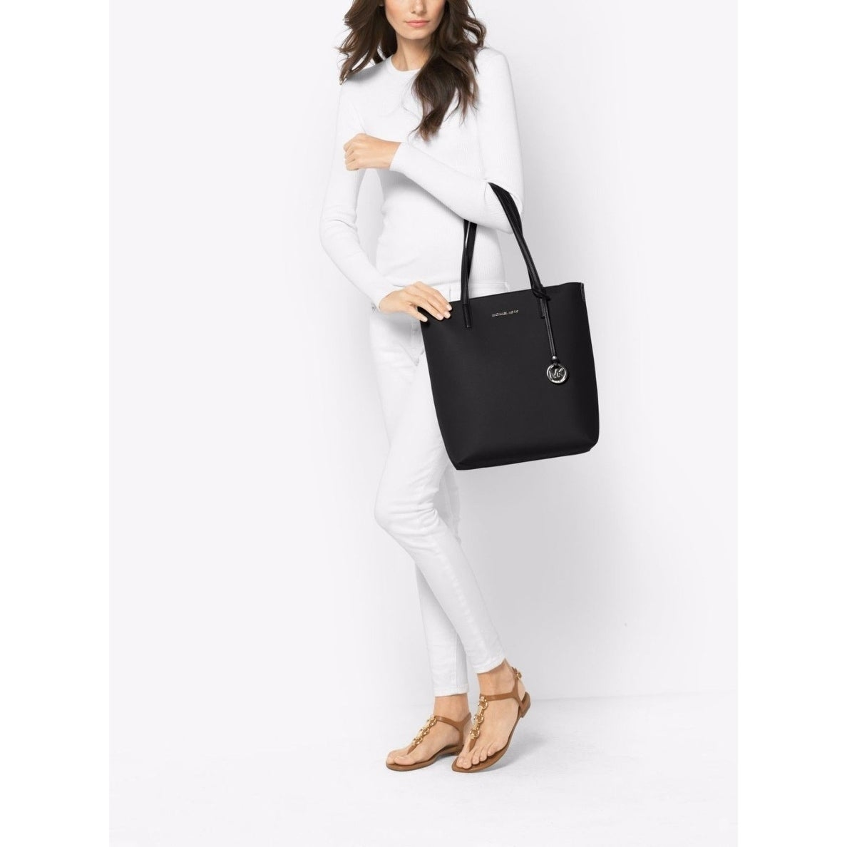 15fc7baaf4ba69 Shop MICHAEL Michael Kors Hayley Large North South Top-Zip Tote Black/Grey  Interior - Free Shipping Today - Overstock - 18214866