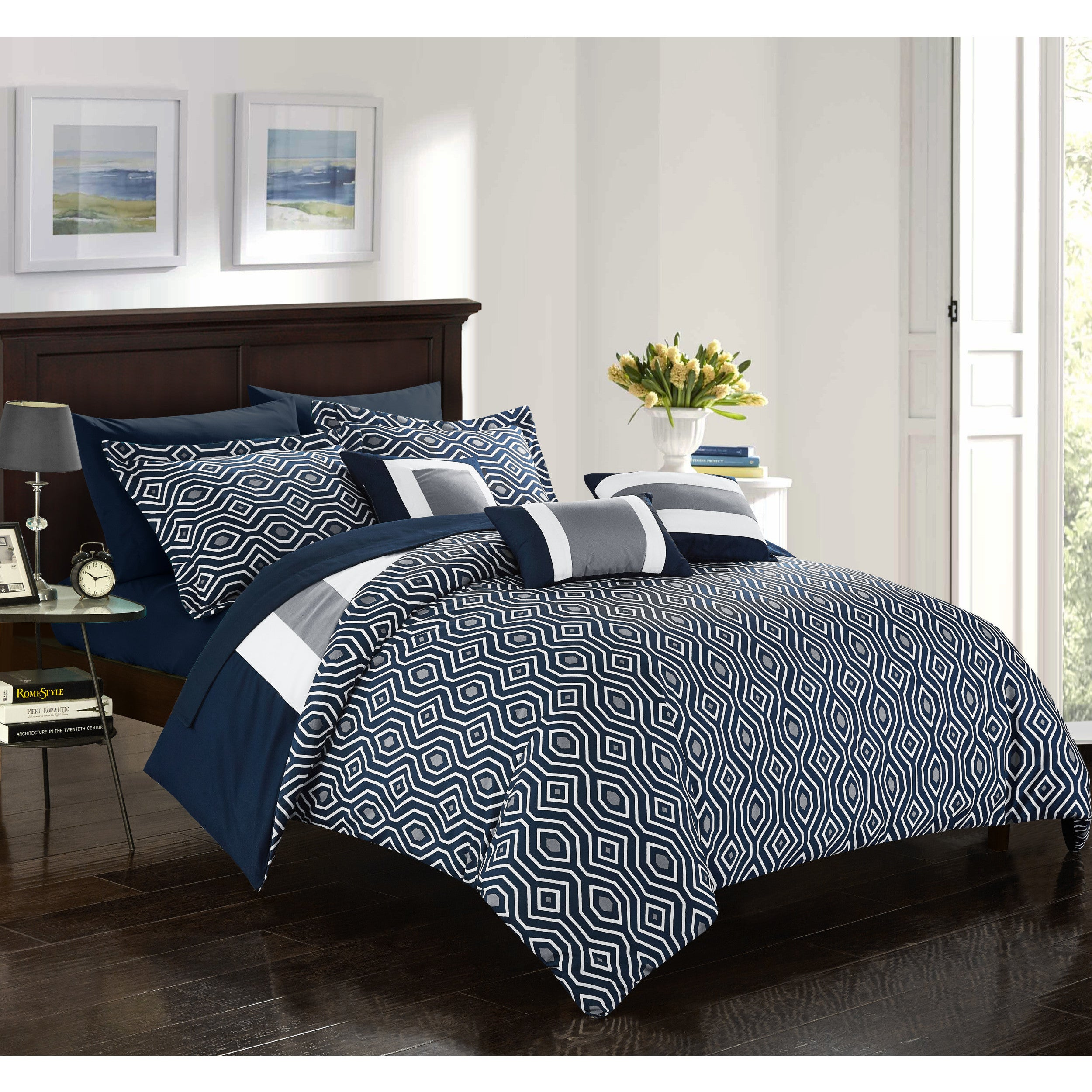 bed bedding chic shipping home navy sets bath set collection piece reversible free overstock heldin today comforter in a bag hotel product
