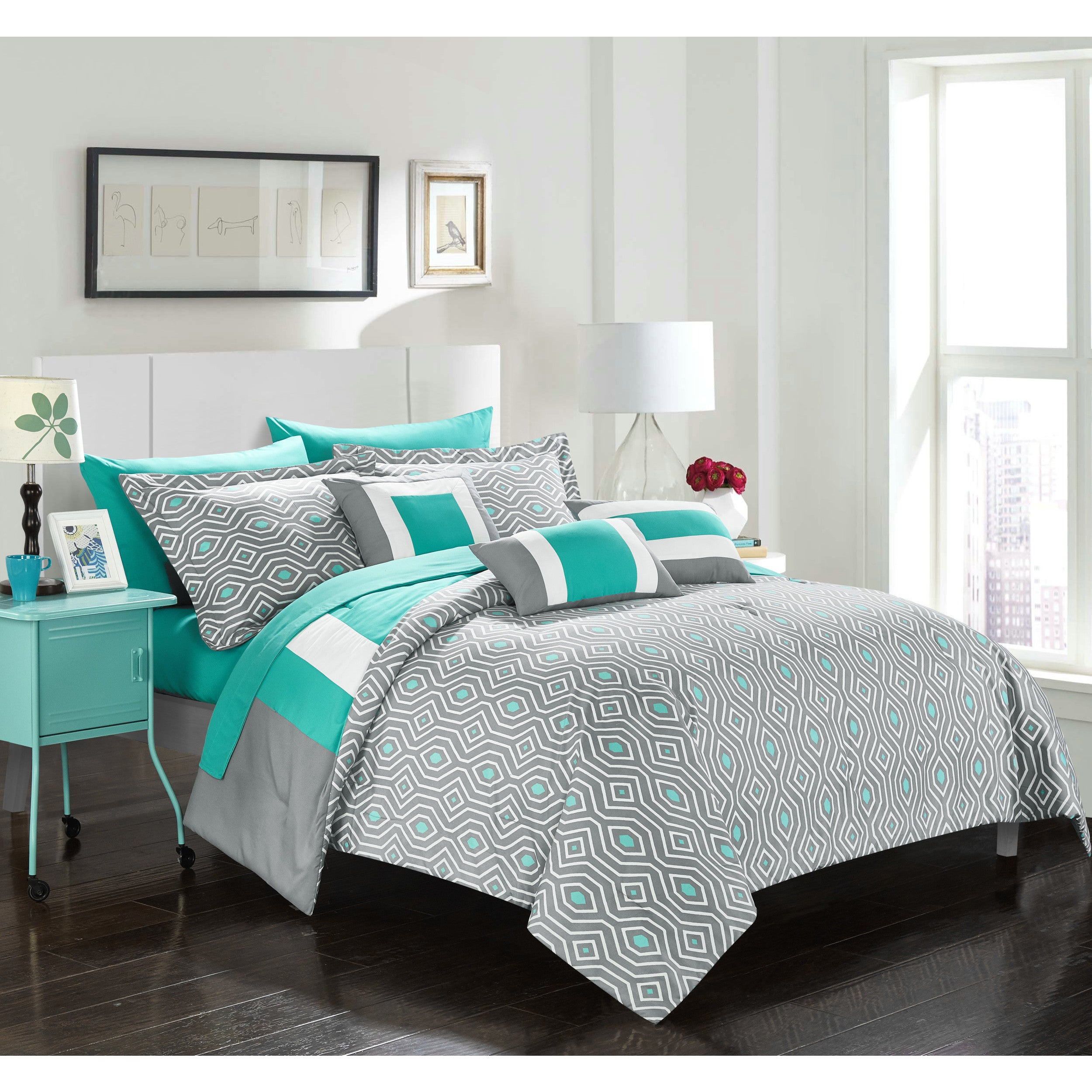 Chic Home Heldin 10 Piece Turquoise Reversible Hotel Collection ...