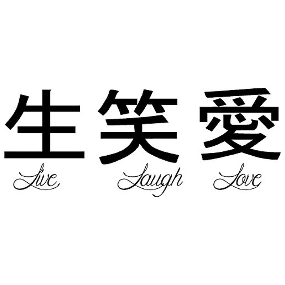 Live Laugh Love Chinese Symbols Wall Vinyl 22 X 9