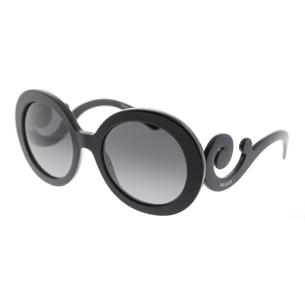 60039b680f1 Prada Round PR 27NS 1AB5W1 Womens Black Frame Grey Gradient Polarized Lens  Sunglasses