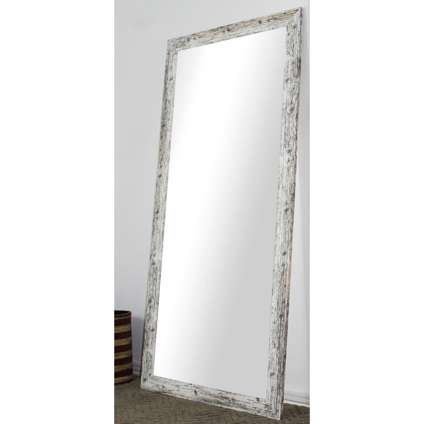U S Made Full Body Floor Length Mirror White Washed