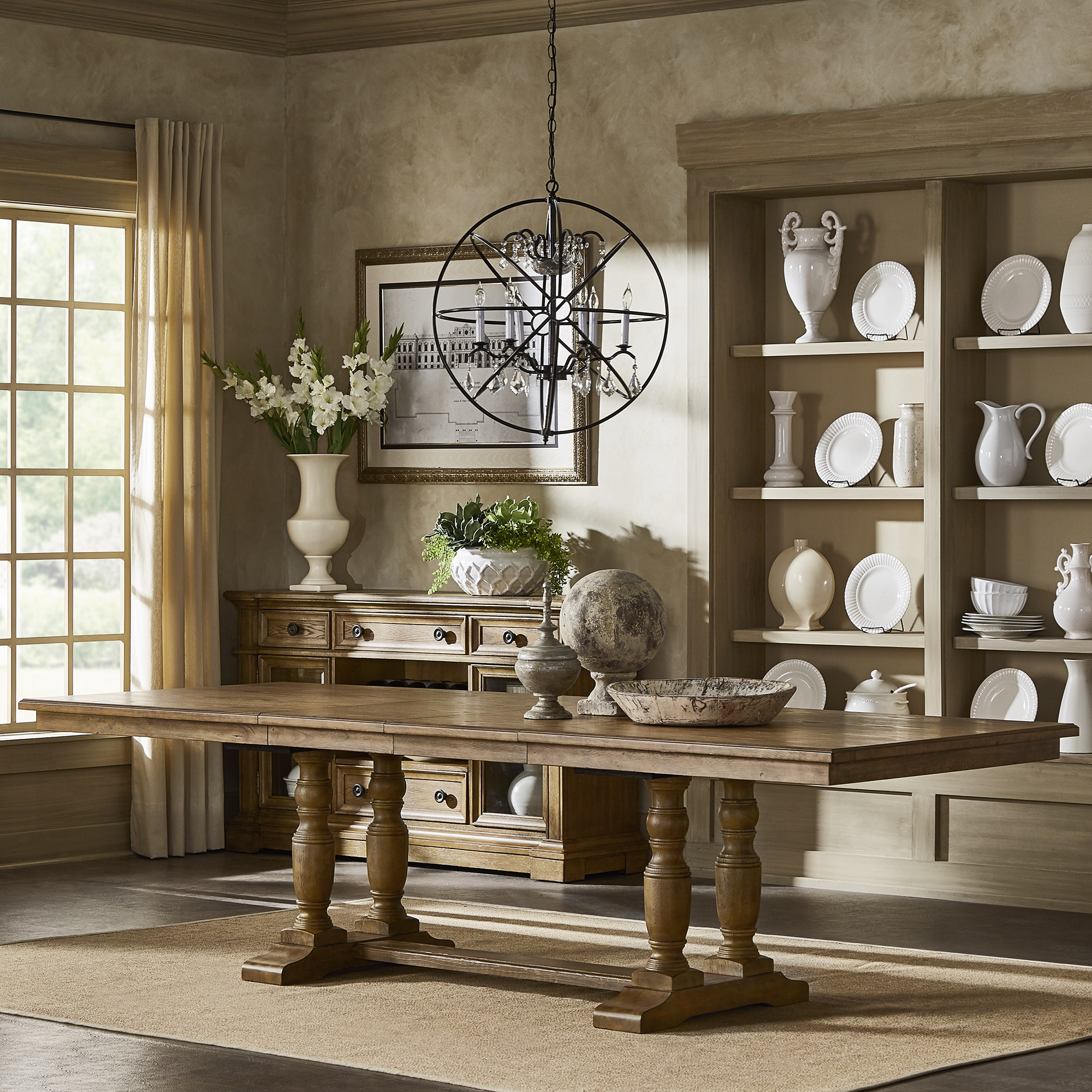 Shop Gilderoy Baluster Leg Extending Wood Dining Table By INSPIRE Q Artisan    Free Shipping Today   Overstock.com   18218115