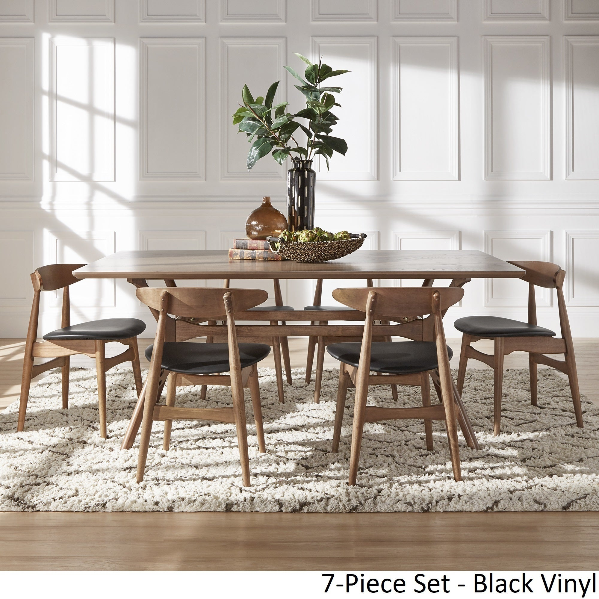 Nadine Walnut Finish Rectangular Dining Set - Curved Back Chairs by iNSPIRE  Q Modern - Free Shipping Today - Overstock.com - 24360003