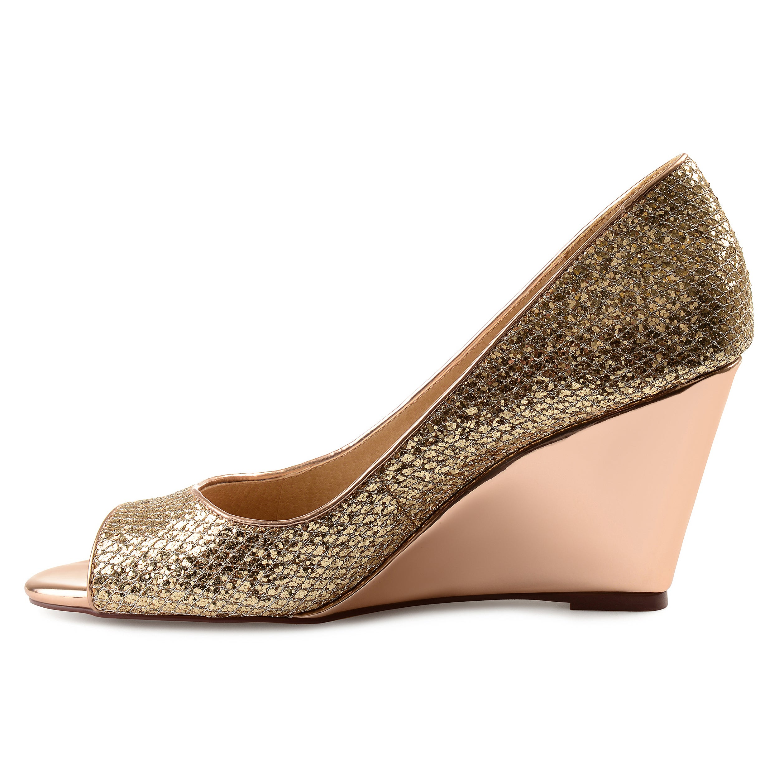 36fc8a4cb6223 Shop Journee Collection Women's 'Selma' Open-toe Metallic Glitter Wedges -  Free Shipping Today - Overstock - 18218144