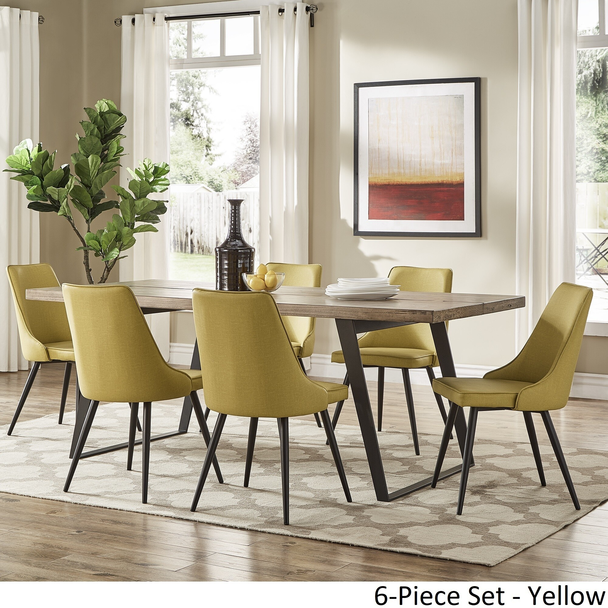 Division Mid Century Split Top Rectangular Dining Set By INSPIRE Q Modern    Free Shipping Today   Overstock.com   24360228
