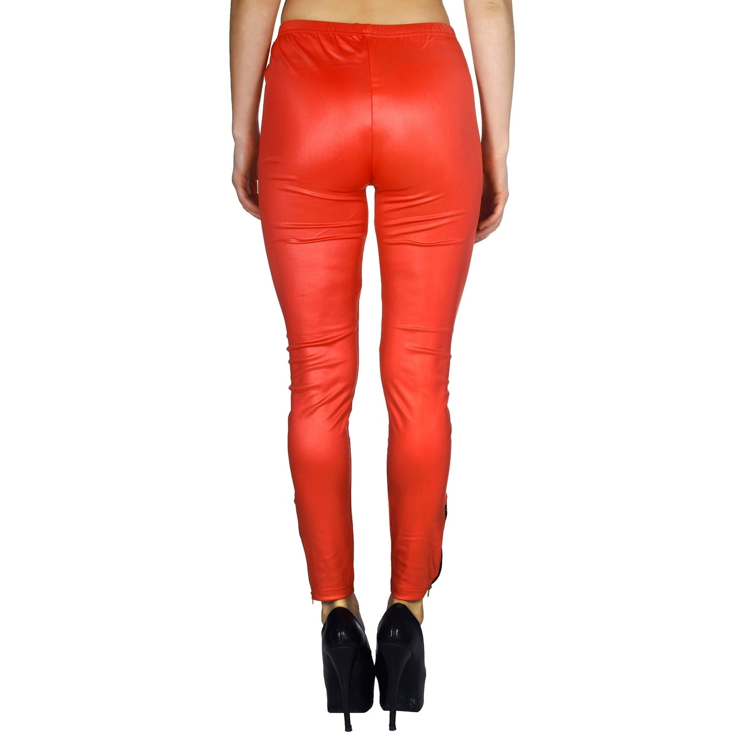 03d9a13442d38 Shop Women's Hi-Waist Wet Look Faux Leather Leggings with Ankle Zipper - Coral  Red - On Sale - Ships To Canada - Overstock.ca - 18220304