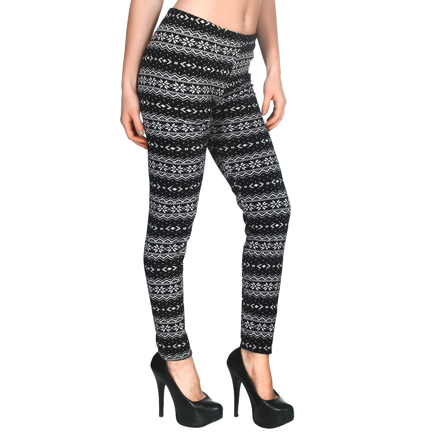 ab0ab41bf46f6a Women's Nordic Snowflake Fair Isle Knitted Fleece Lined Winter Leggings