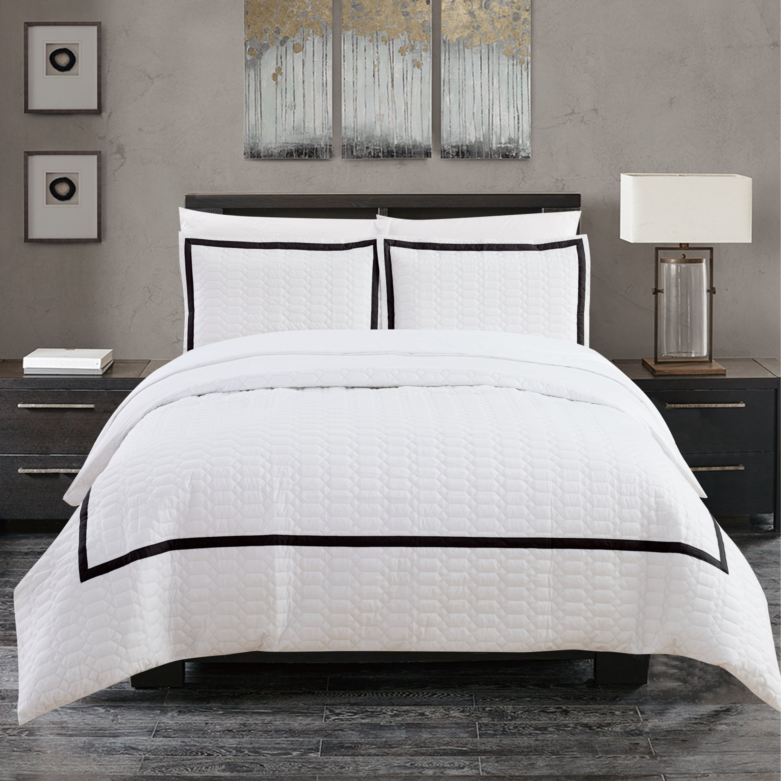 Chic Home Krystel 7 Piece Hotel Collection Banded Print Duvet Cover And Sheet Set On Free Shipping Today 18220794