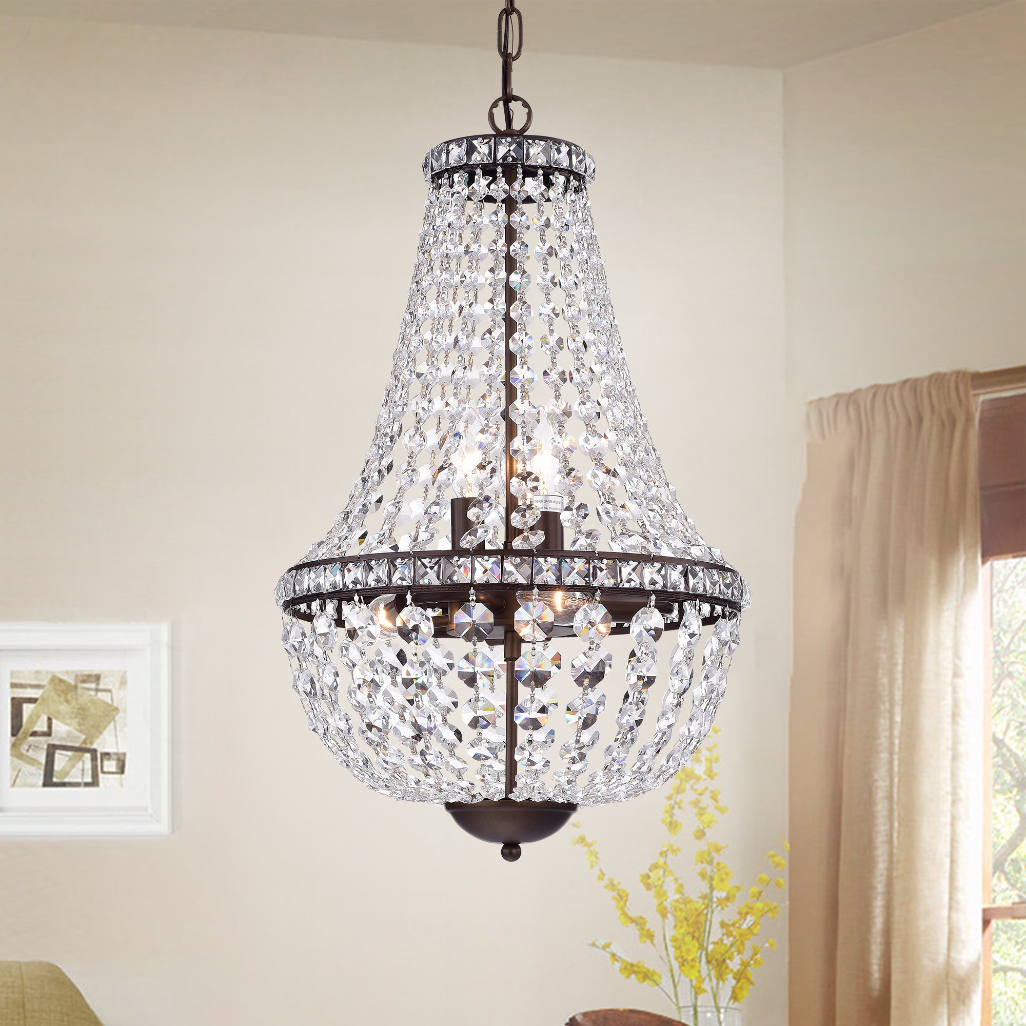 Uanah 6 Light Crystal Antique Black Chandelier  Free Shipping Today