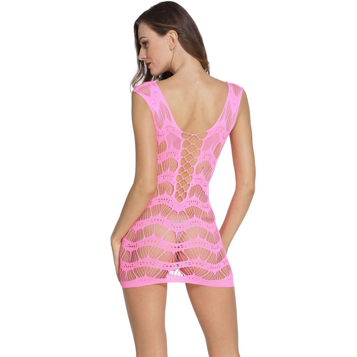 5e66bea221 Shop Sexly Crocheted Lace Hollow-out Chemise Dress - Ships To Canada -  Overstock - 18222661