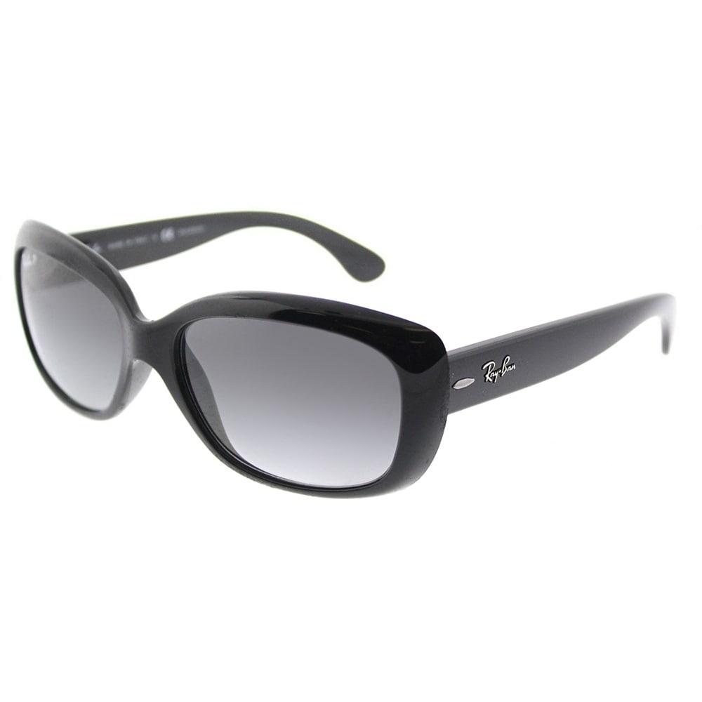 b4c2f43e29 Ray-Ban Rectangle RB 4101 601 T3 Womens Shiny Black Frame Grey Gradient  Polarized Lens Sunglasses