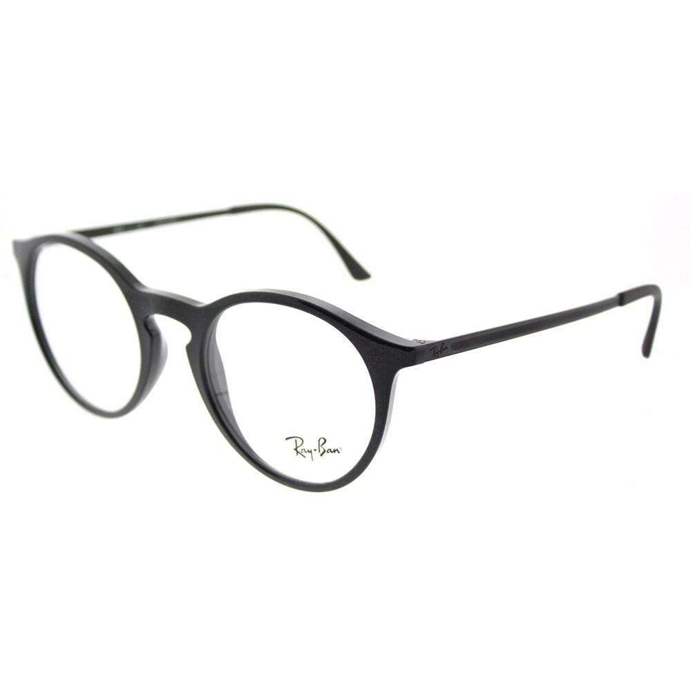 691e6731a2f Shop Ray-Ban Round RX 7132 2000 Unisex Shiny Black Frame Eyeglasses ...