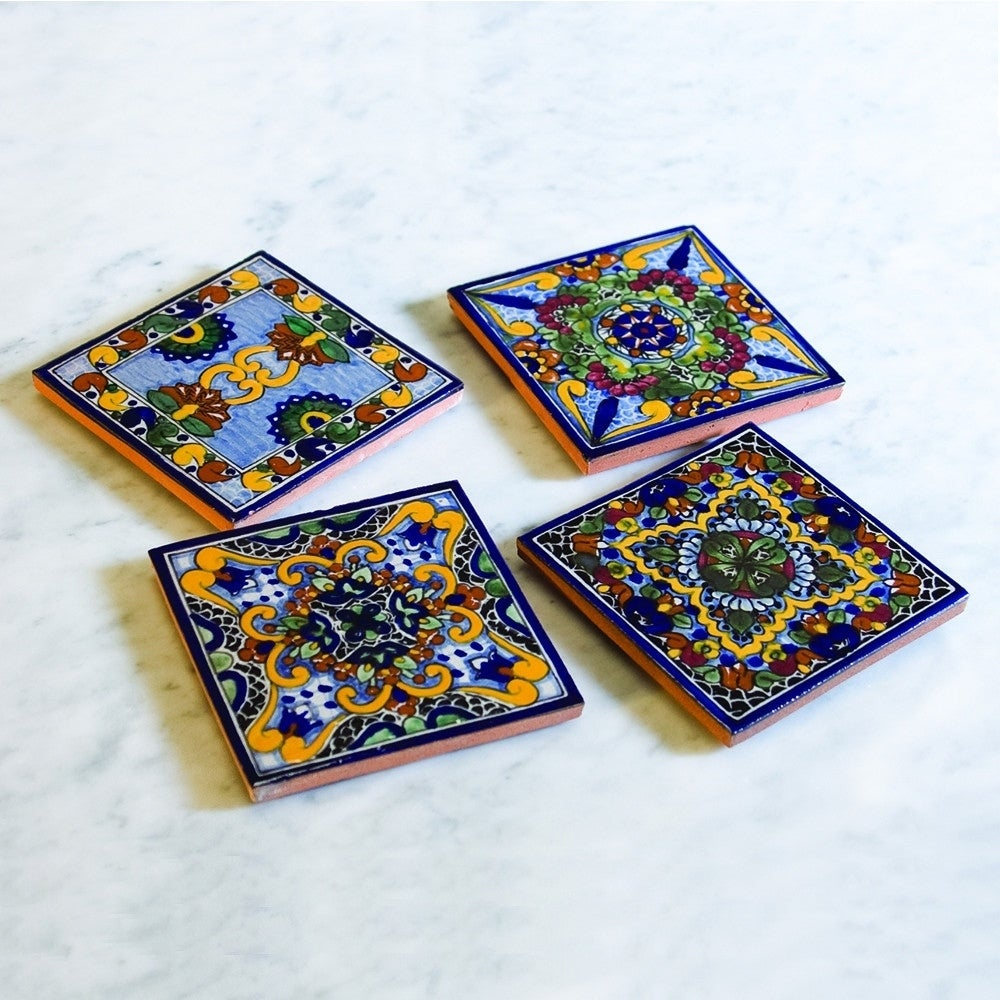 Moroccan Midnight Hand Painted Talavera Tile Coasters Set Of 4 On Free Shipping Today 18225980