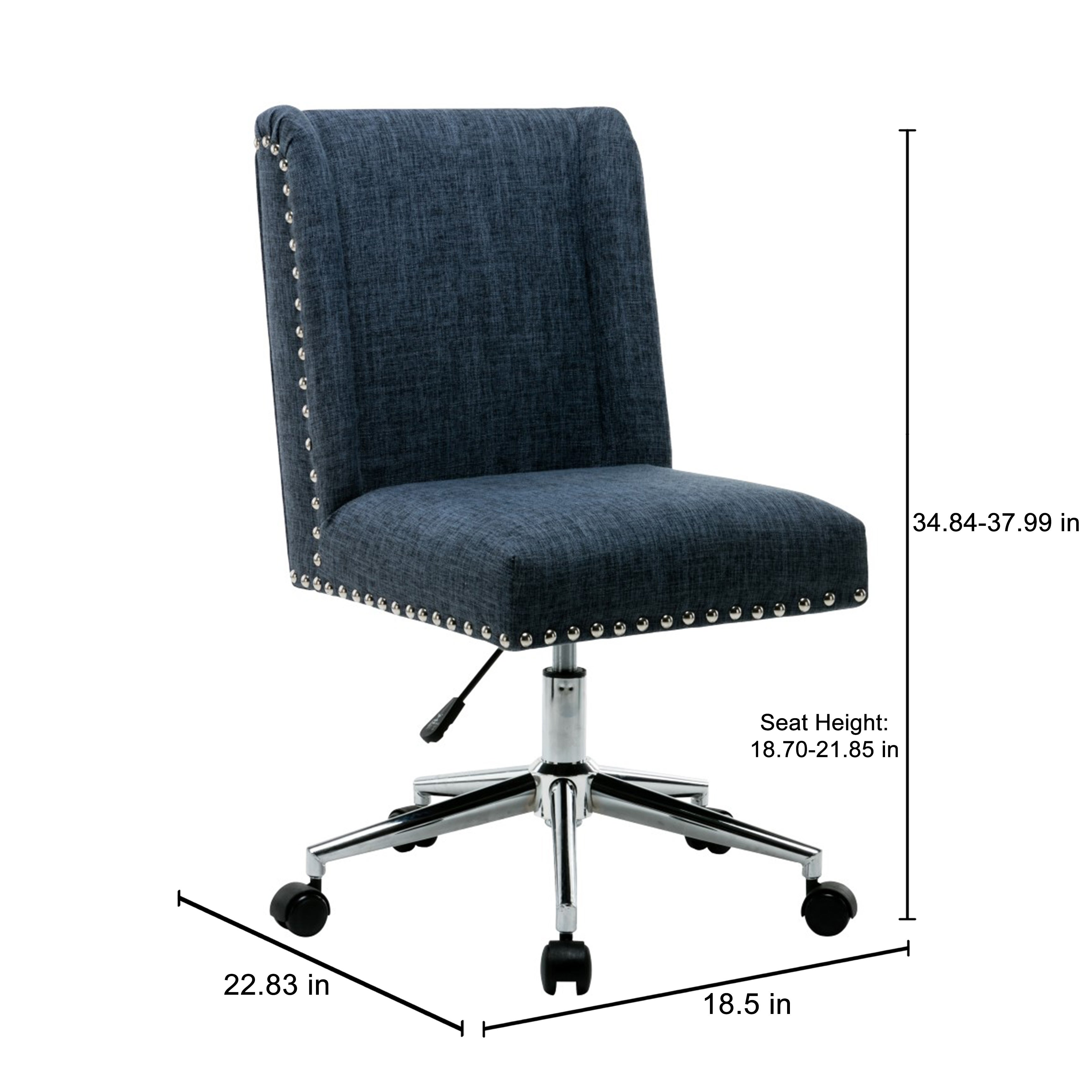 Porthos Home Office Chair With Fabric Upholstery Studded Design On Free Shipping Today 18226811