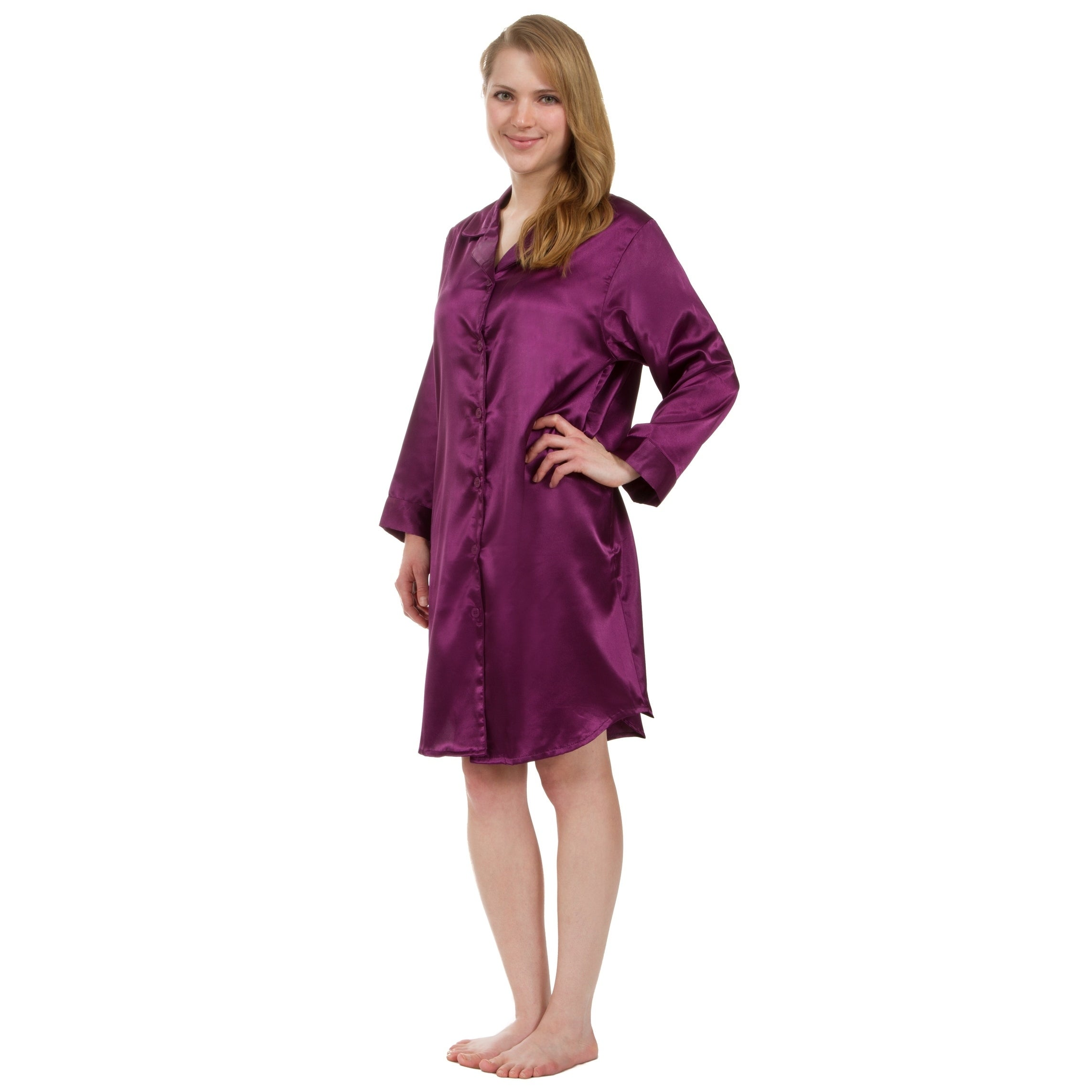 Shop Leisureland Stretch Satin Nightshirt Boyfriend Style Sleep Shirt -  Free Shipping On Orders Over  45 - Overstock - 18227817 2995b004f