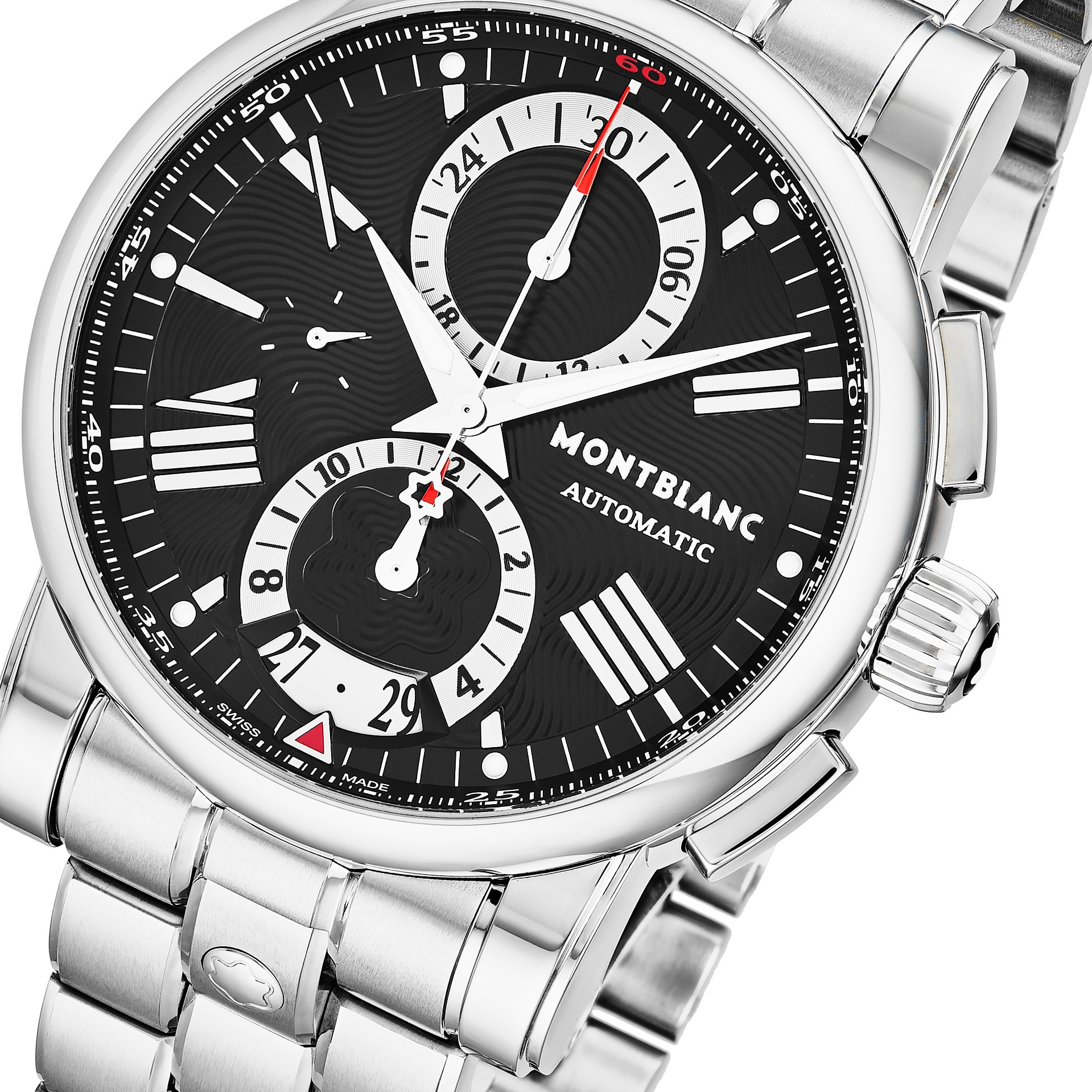3356058f428 Shop Mont Blanc Men's 'Star' Black Dial Stainless Steel Chronograph Swiss  Automatic Watch - Free Shipping Today - Overstock - 18227947