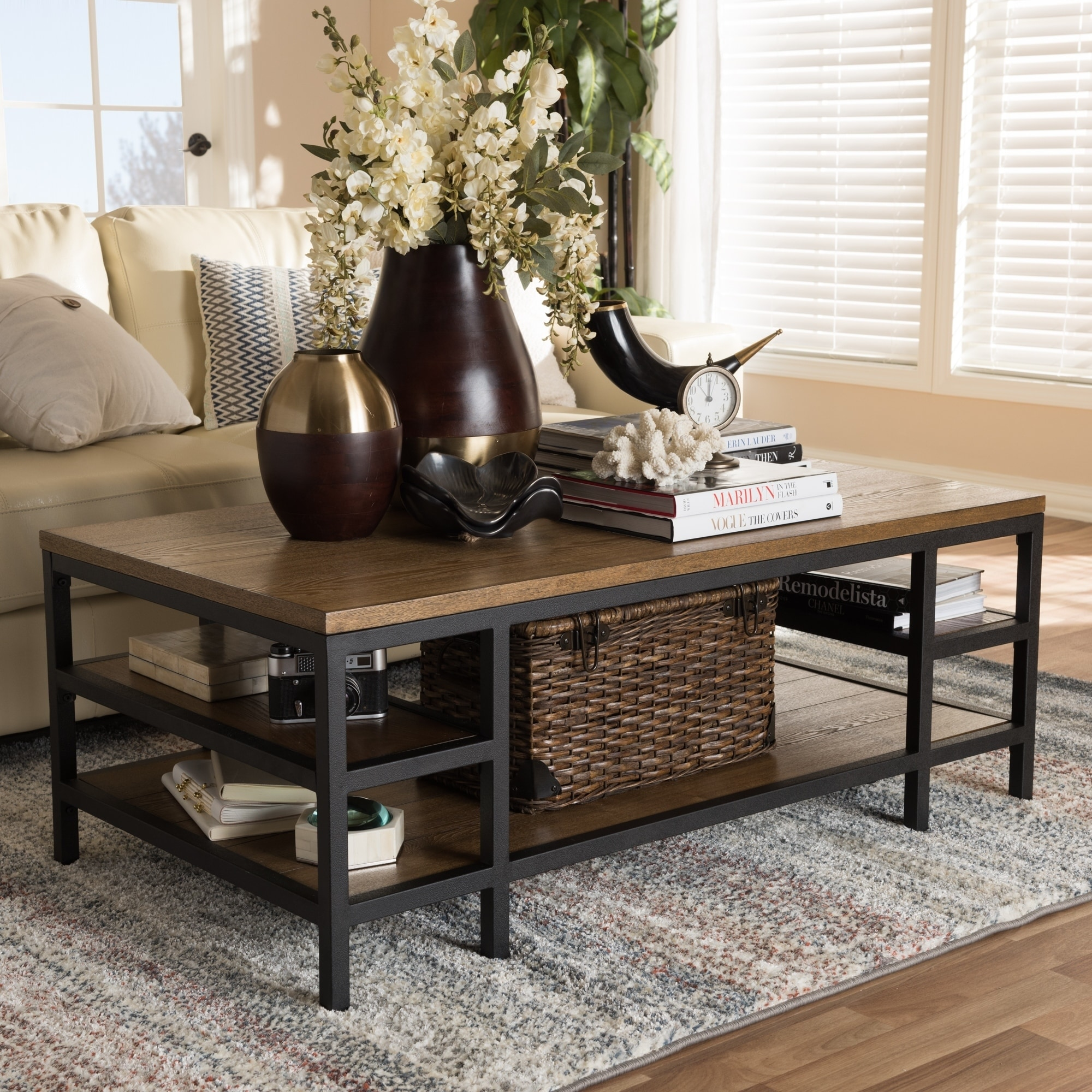 Rustic Brown And Black Coffee Table By Baxton Studio Free Shipping Today 18228031