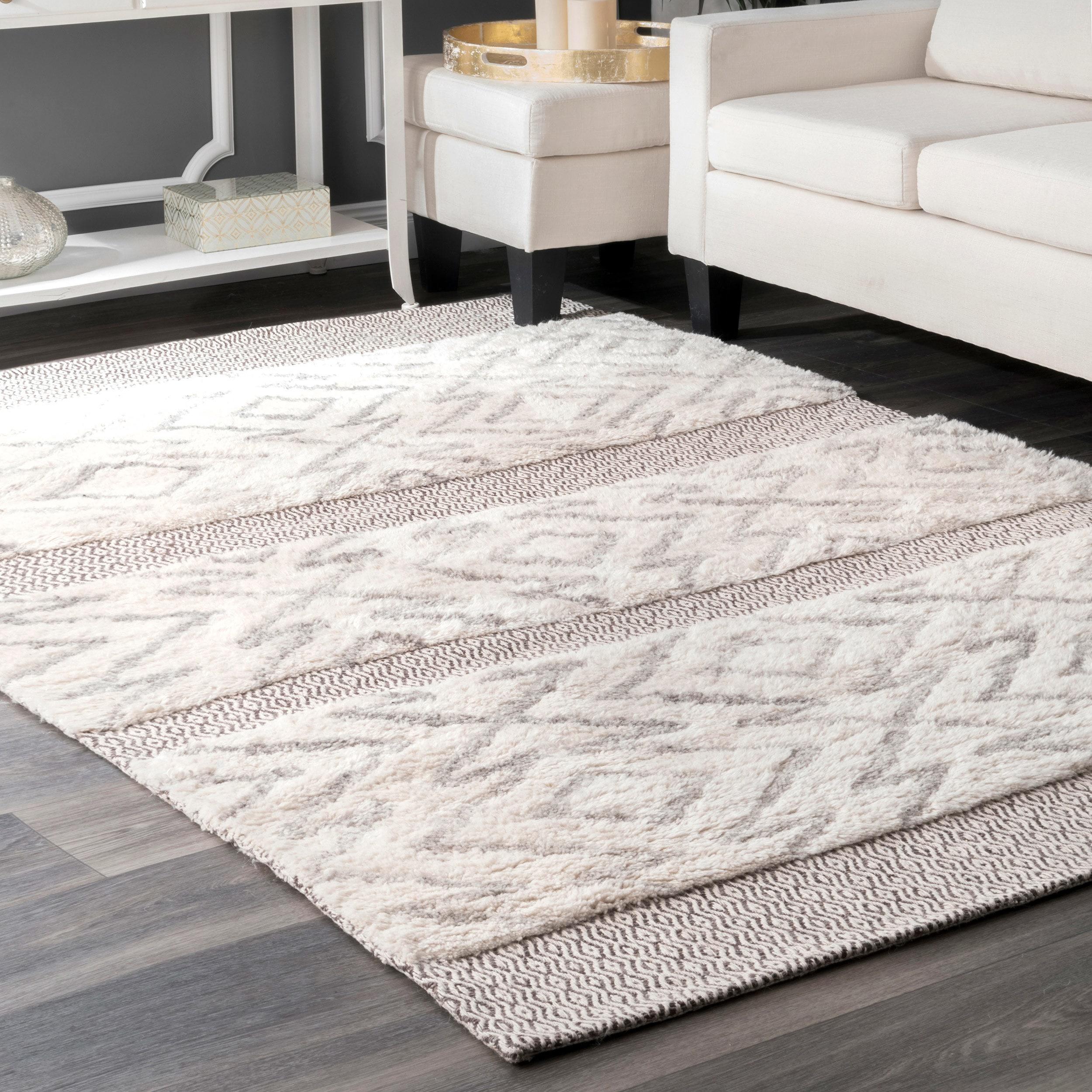 Nuloom Grey Wool Cotton Handmade Abstract Area Rug 5 X 8