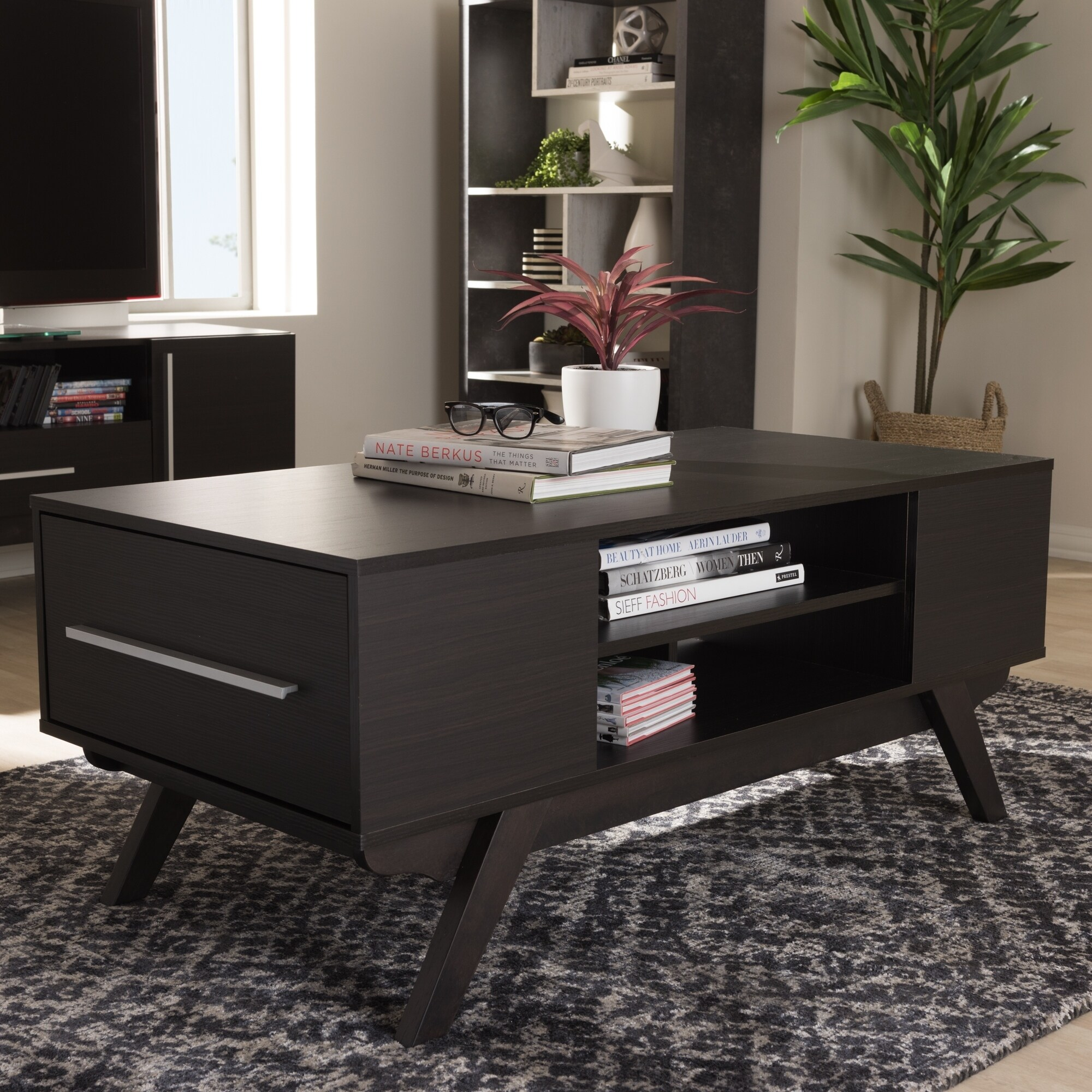 Mid Century Dark Brown 2 Drawer Coffee Table By Baxton Studio On Free Shipping Today 18228166