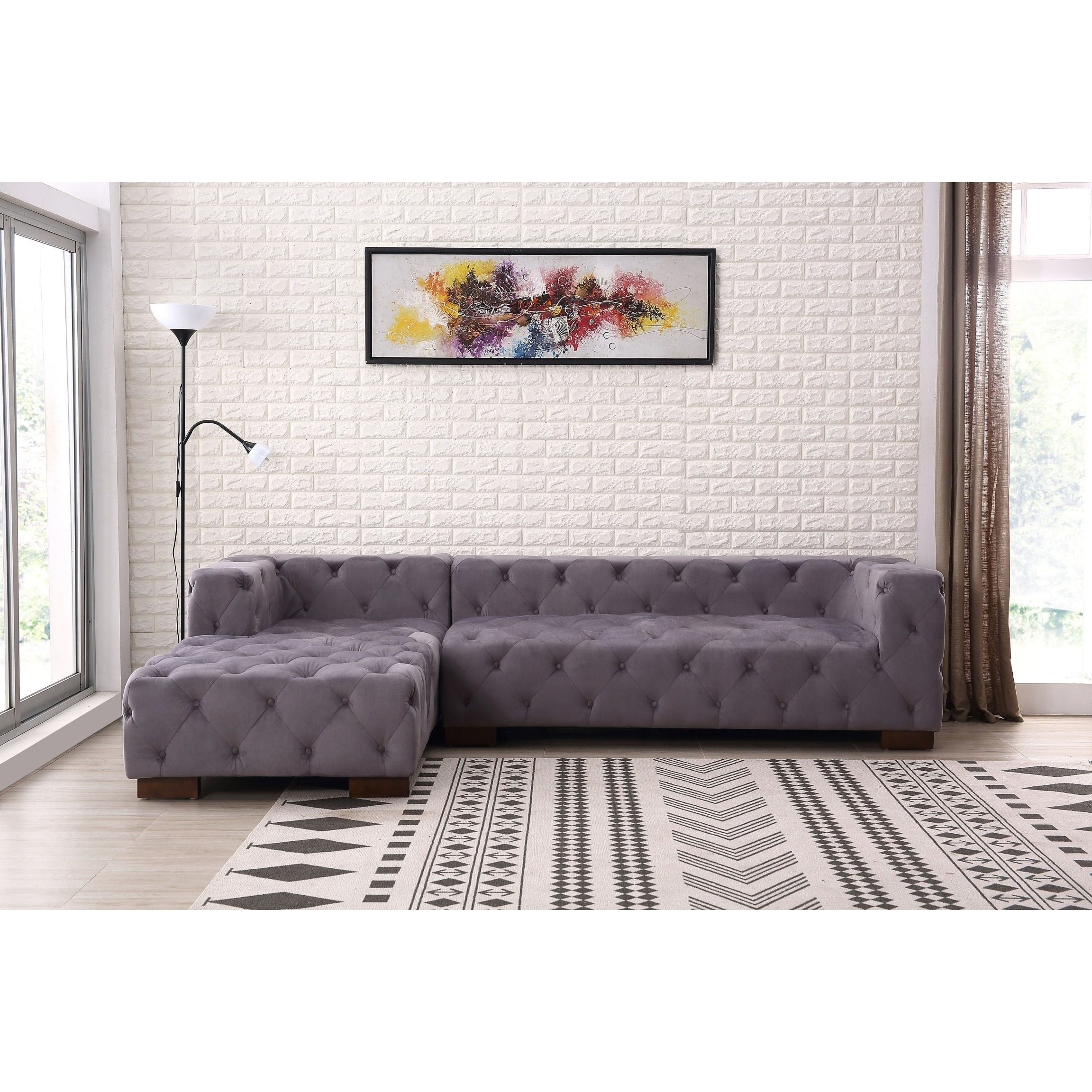 Kensington Tufted Chesterfield Left Facing Sectional Sofa Free Shipping Today 18228595
