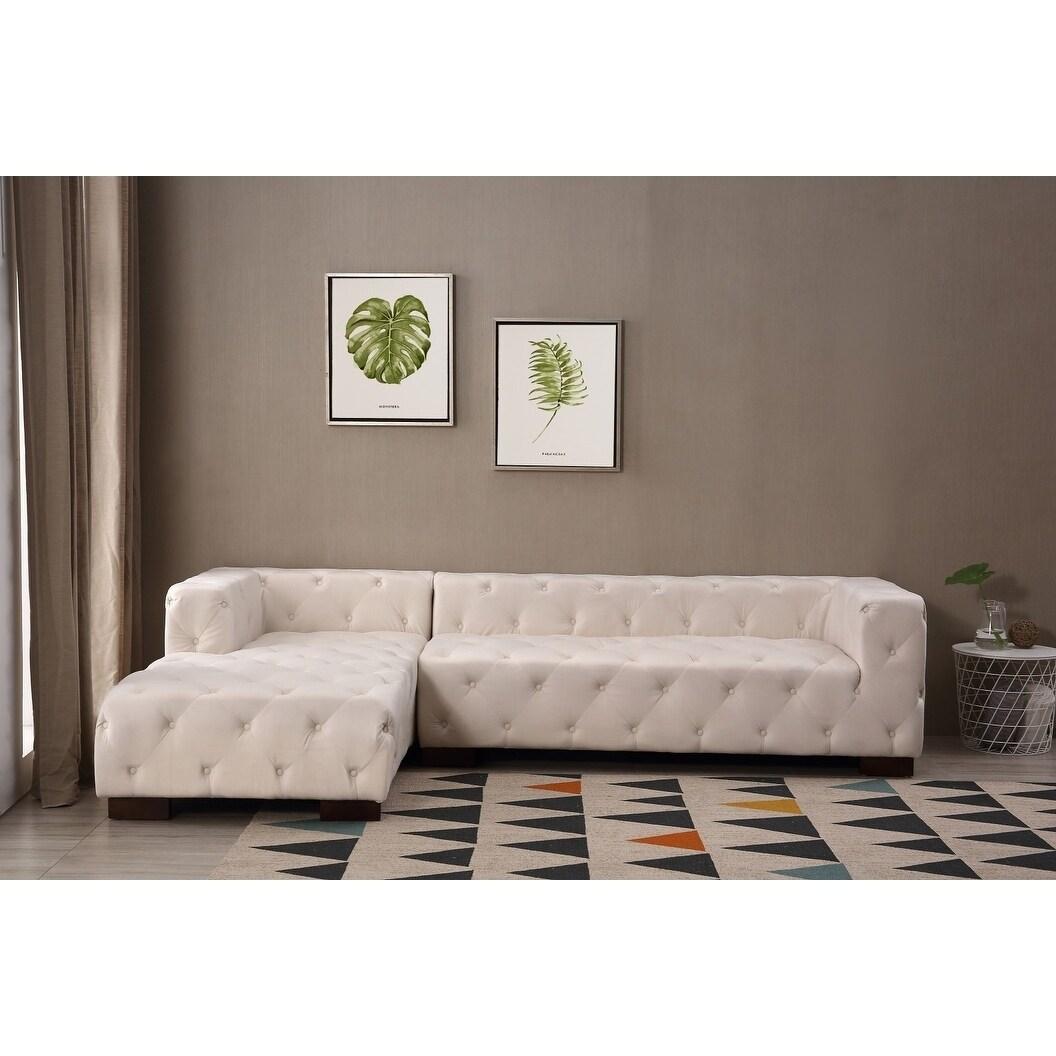 Kensington Tufted Chesterfield Left Facing Sectional Sofa Free  ~ Kensington Upholstered Sofa