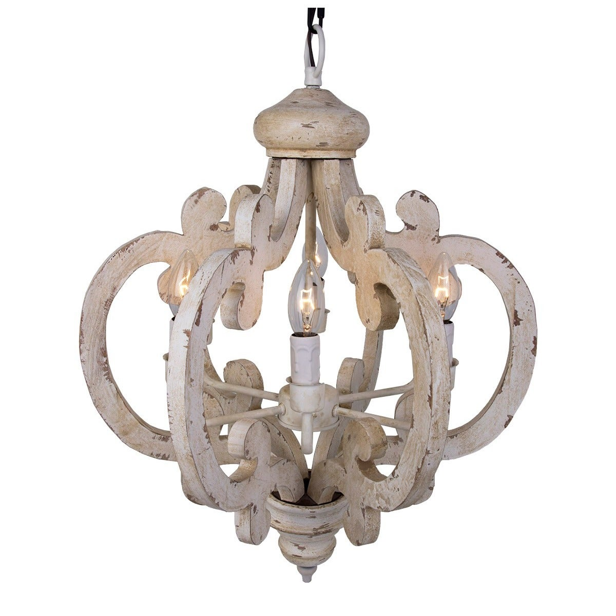 Shop 6-light Distressed Antique White Wooden Chandelier - Free Shipping  Today - Overstock.com - 18229090 - Shop 6-light Distressed Antique White Wooden Chandelier - Free