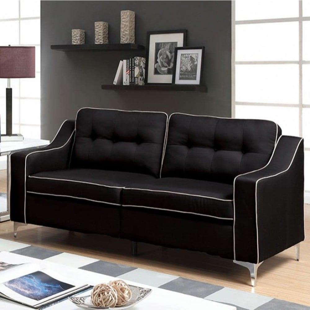 Shop glenda contemporary sofa black finish free shipping today overstock com 18231583