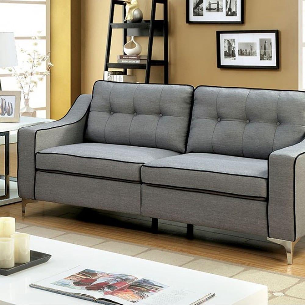 Shop glenda contemporary sofa gray finish free shipping today overstock com 18231594