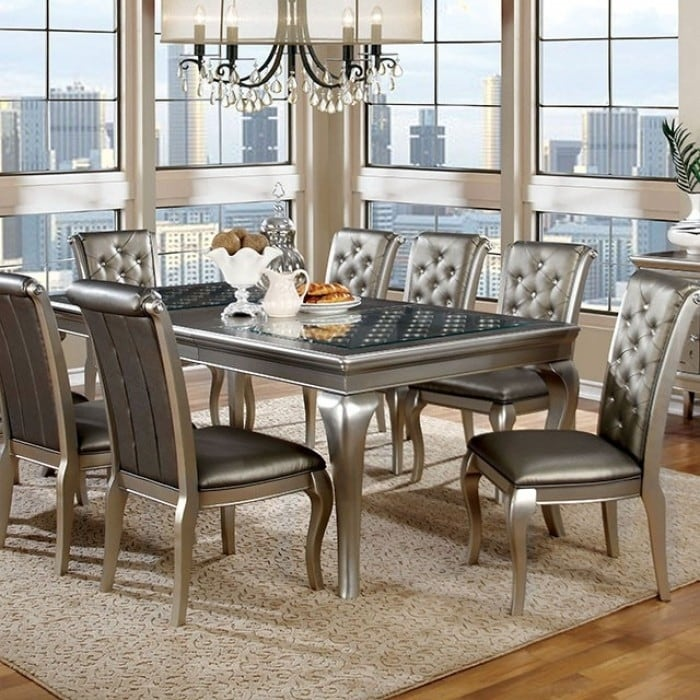 Amina Contemporary Style Elegant Dining Table Silver Free Shipping Today 18232215