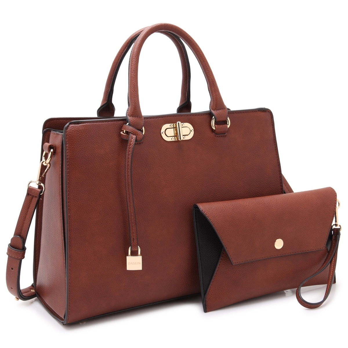 c9edd2ea220 Shop Dasein Faux Leather Padlock Accent Twist Lock Satchel Handbag with Matching  Wristlet - Free Shipping On Orders Over $45 - Overstock - 18232269