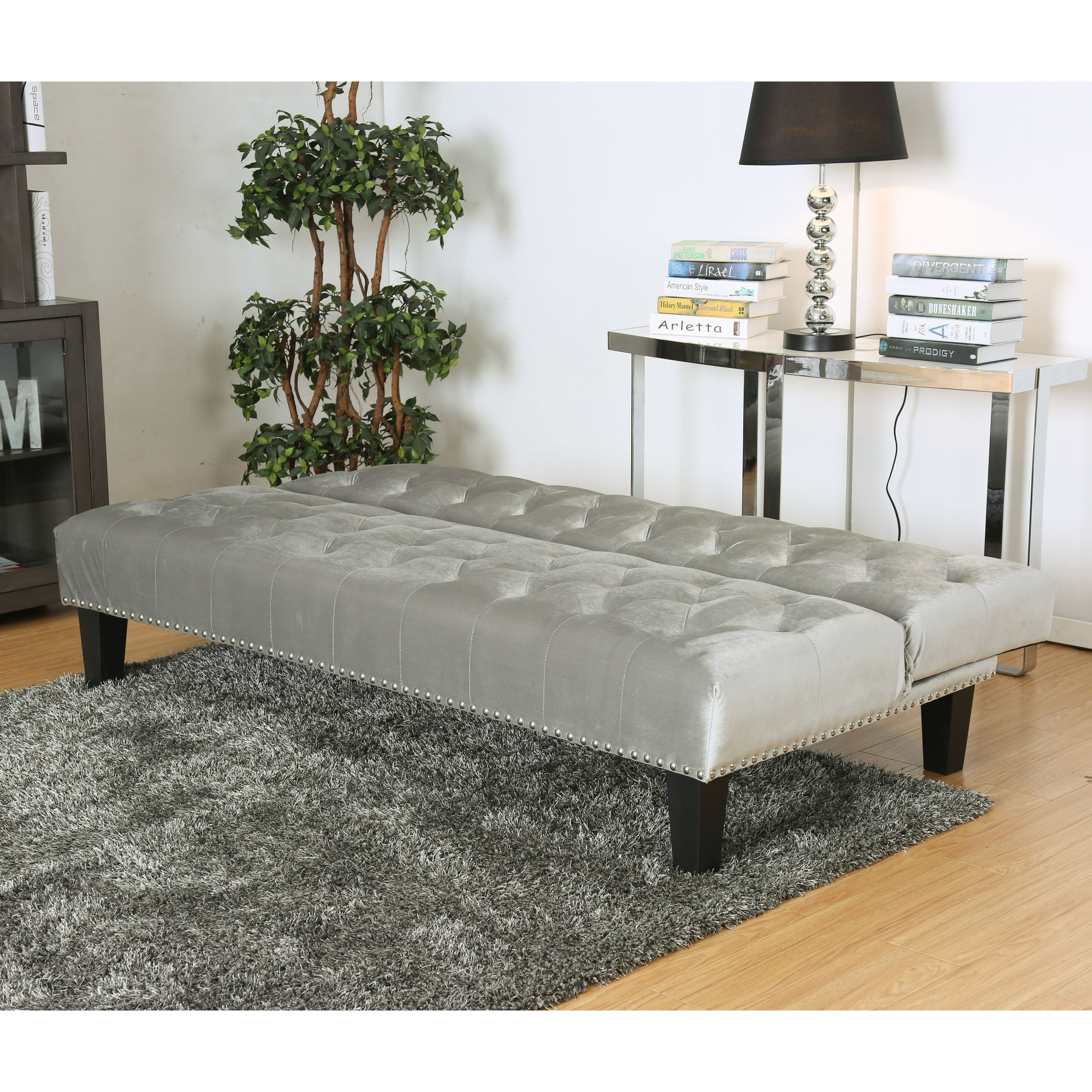 furniture of america yetsy contemporary glam tufted futon sofa   free shipping today   overstock     24374428 furniture of america yetsy contemporary glam tufted futon sofa      rh   overstock