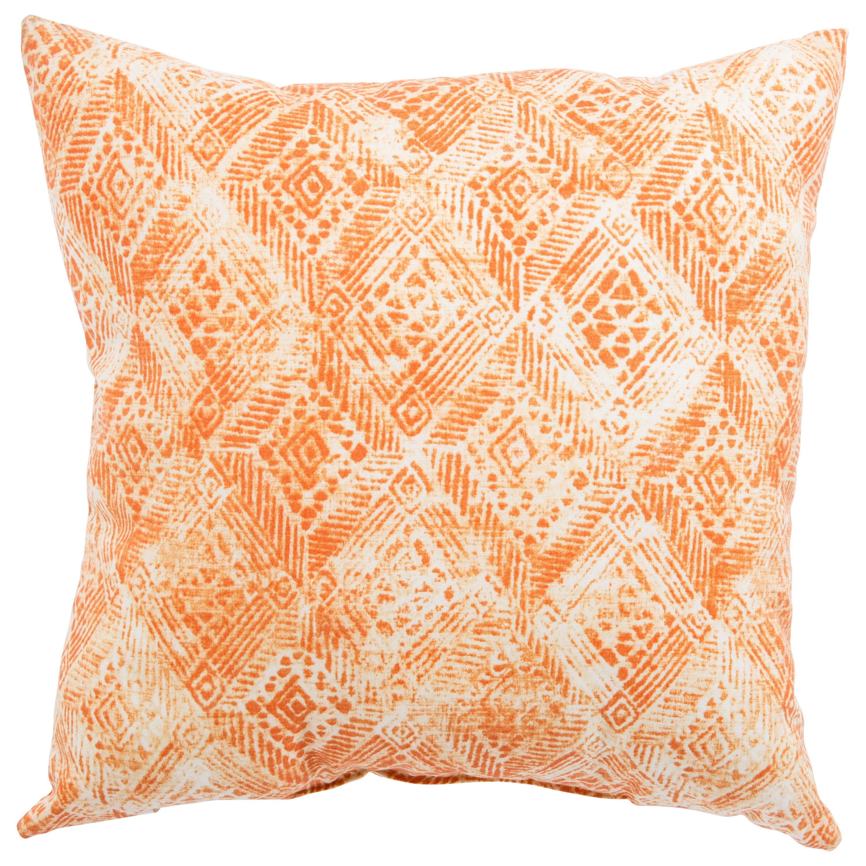 Shop Indoor Outdoor Anya Ikat White Orange 18 Inch Throw Pillow