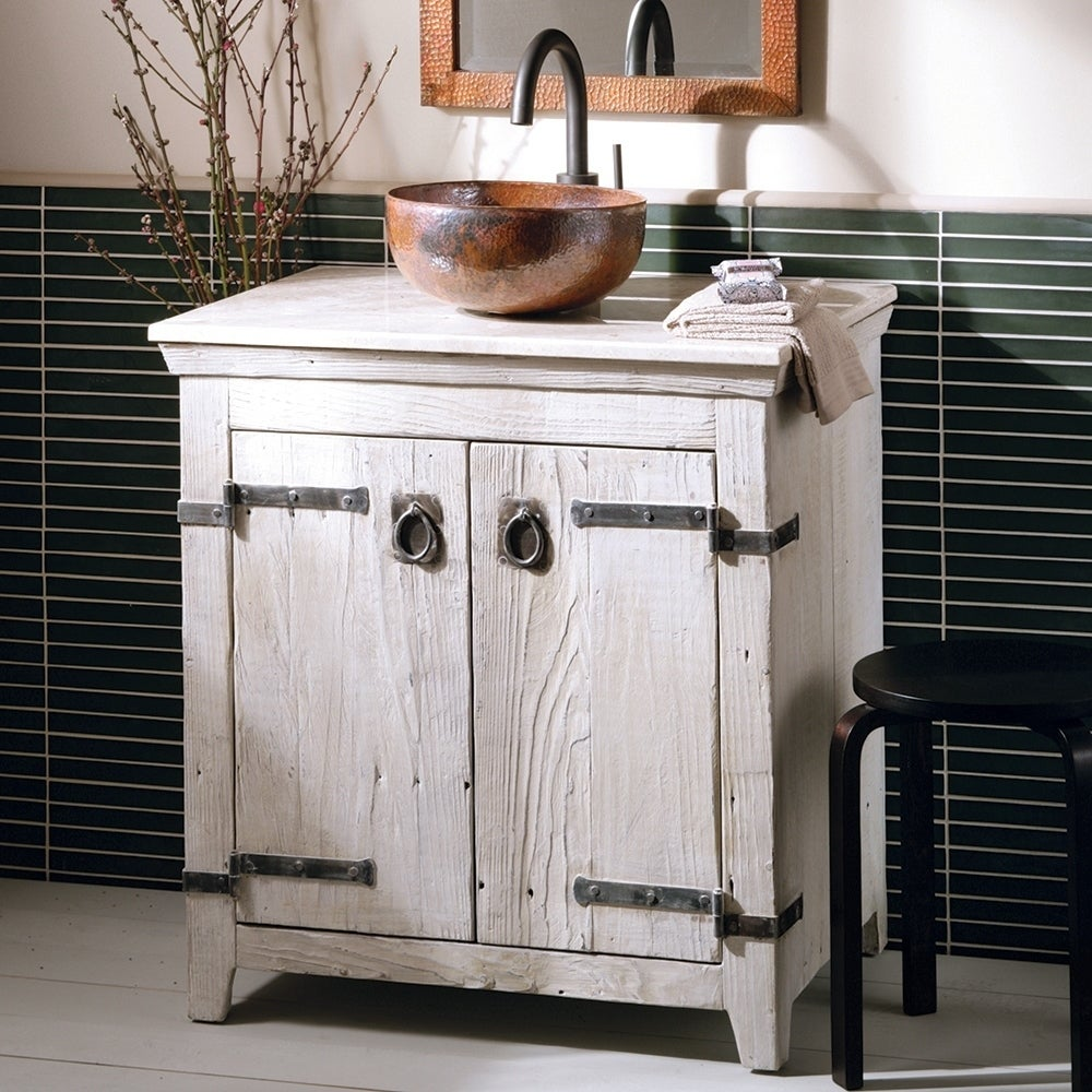 Shop Americana Whitewash 30-inch Reclaimed Wood Bathroom Vanity ...