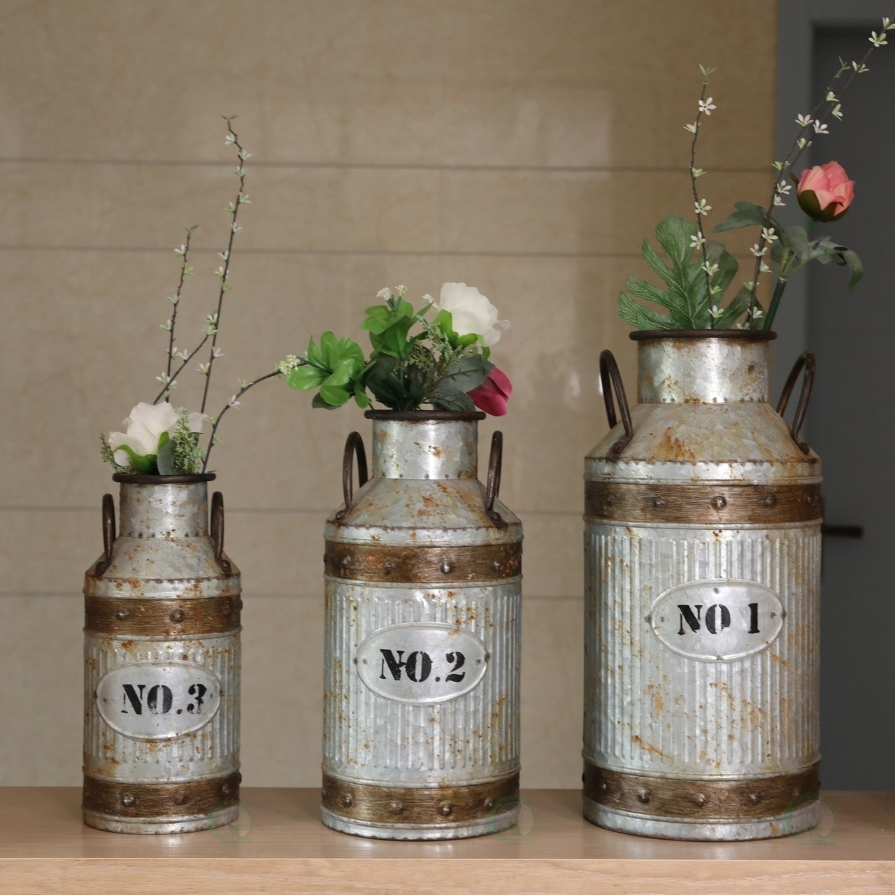Galvanized flower vase design decoration vases galvanized metal rustic milk can set of 3 free shipping today overstock reviewsmspy
