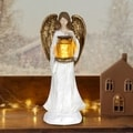 Angel Holding Jar of Fireflies with Timer