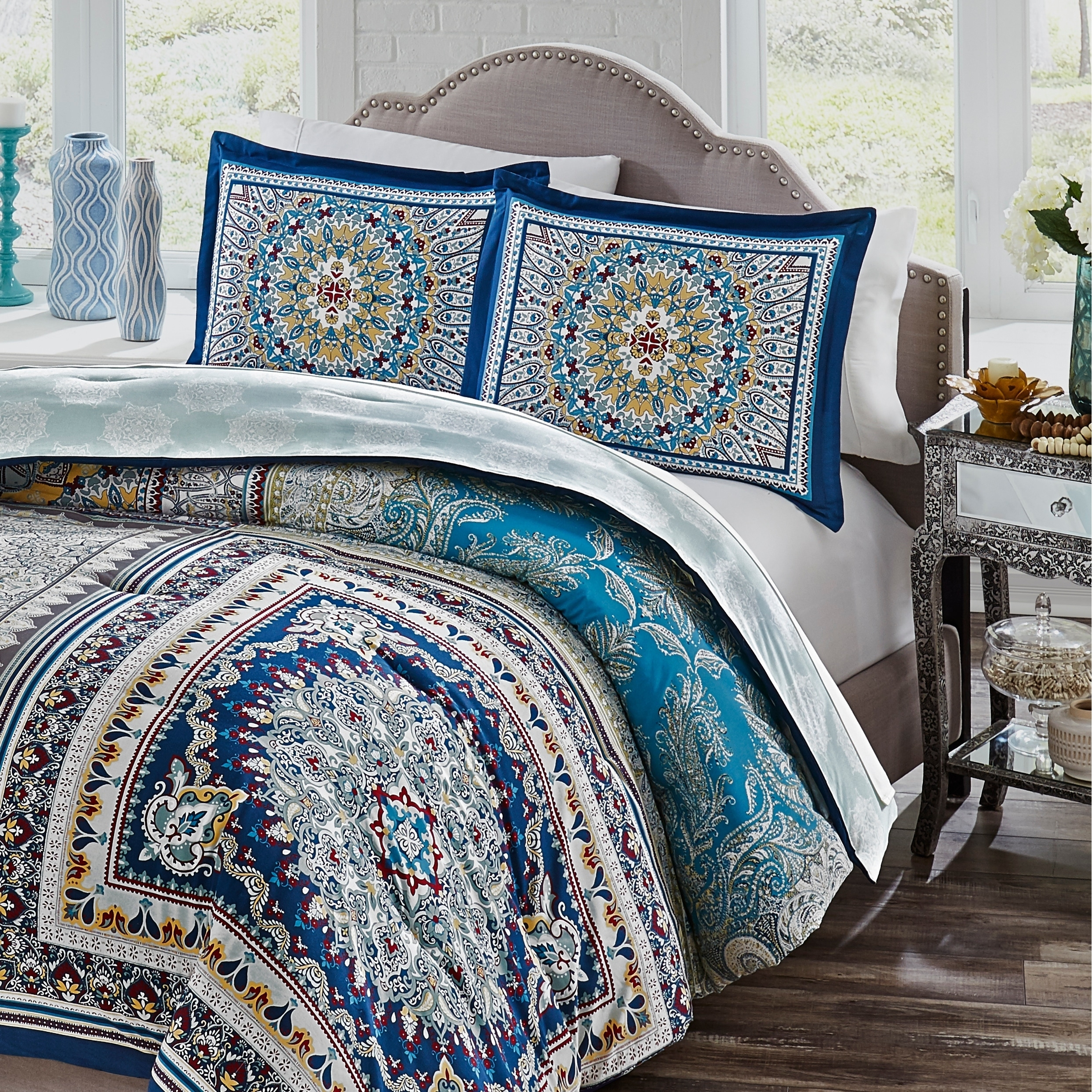 chic product bohemian white comforter case set duvet mandala ombre blue boho bedding twin flower one with pillow