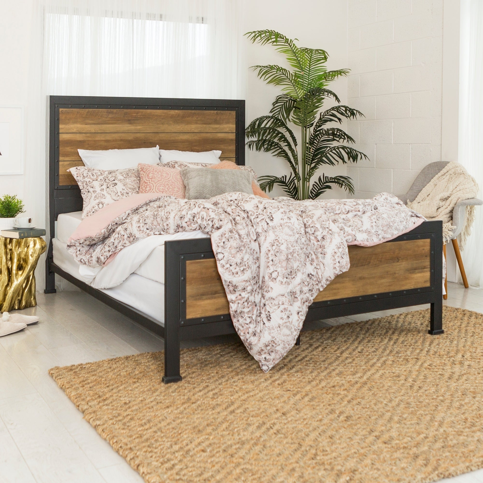 carbon loft santos industrial wood and metal queen bed free