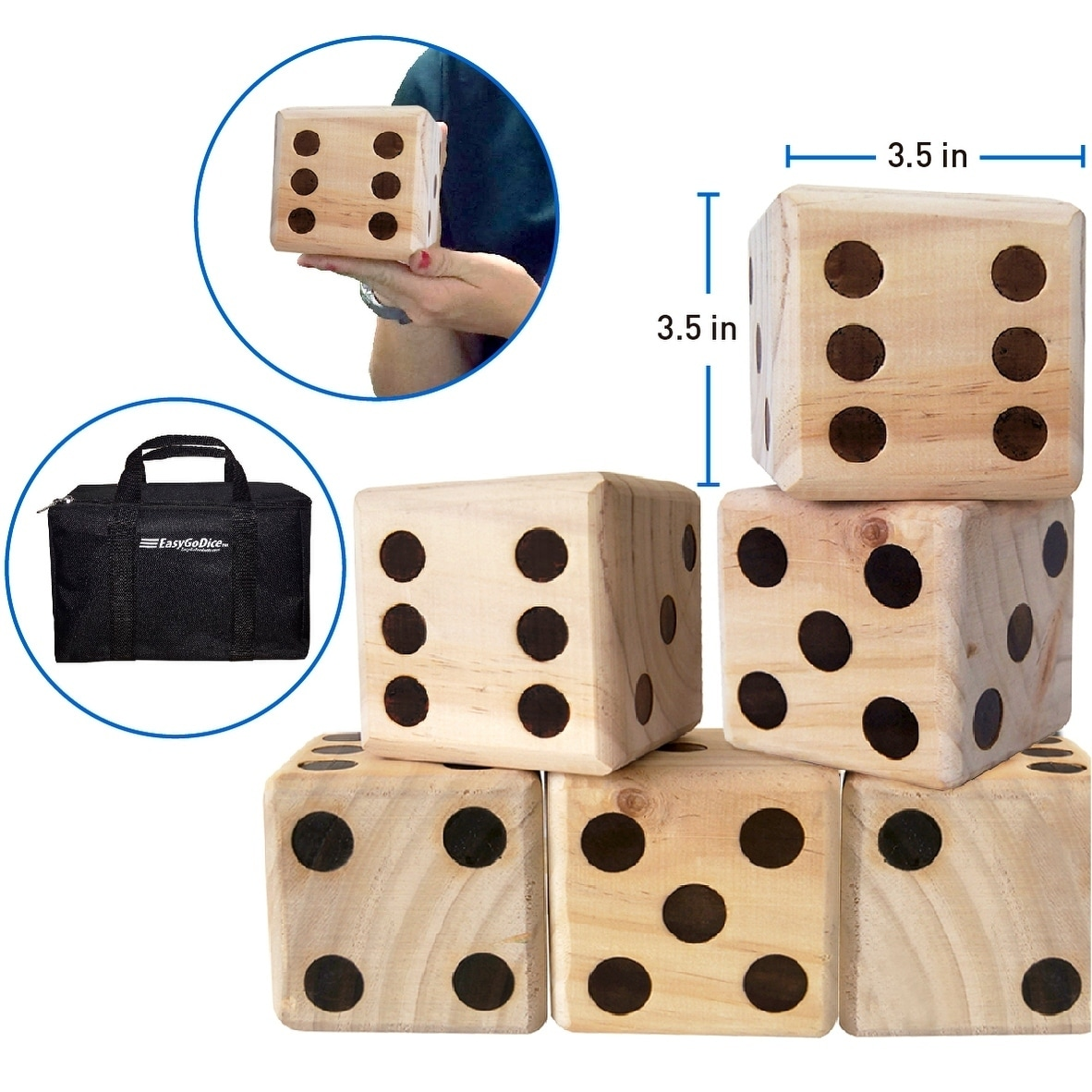 Large Dice Game Giant Wooden Yard Dice Set Dice With Bag Dice Games
