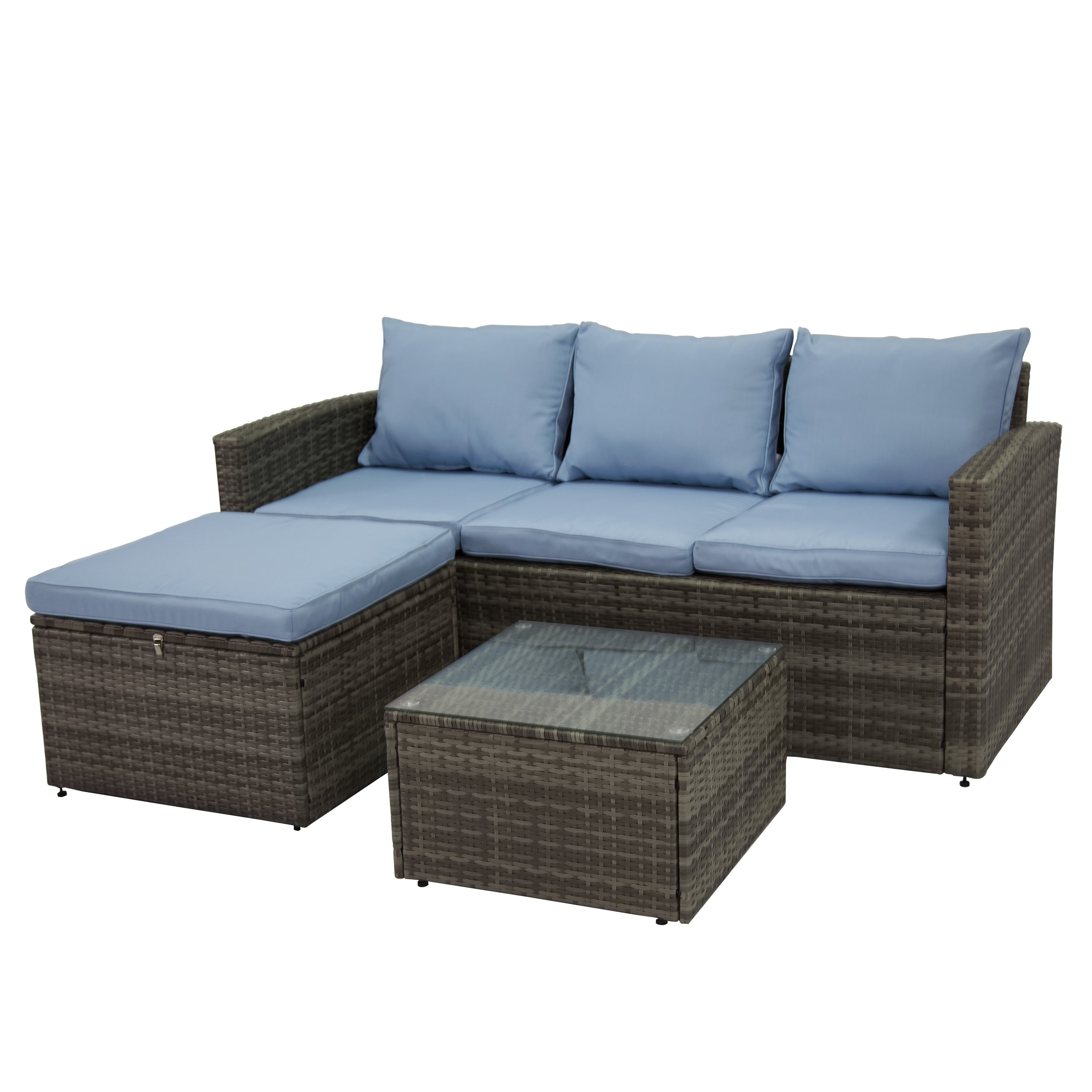 Rio Grey 3 Piece All Weather Wicker Storage Conversation Set On Free Shipping Today 18252410