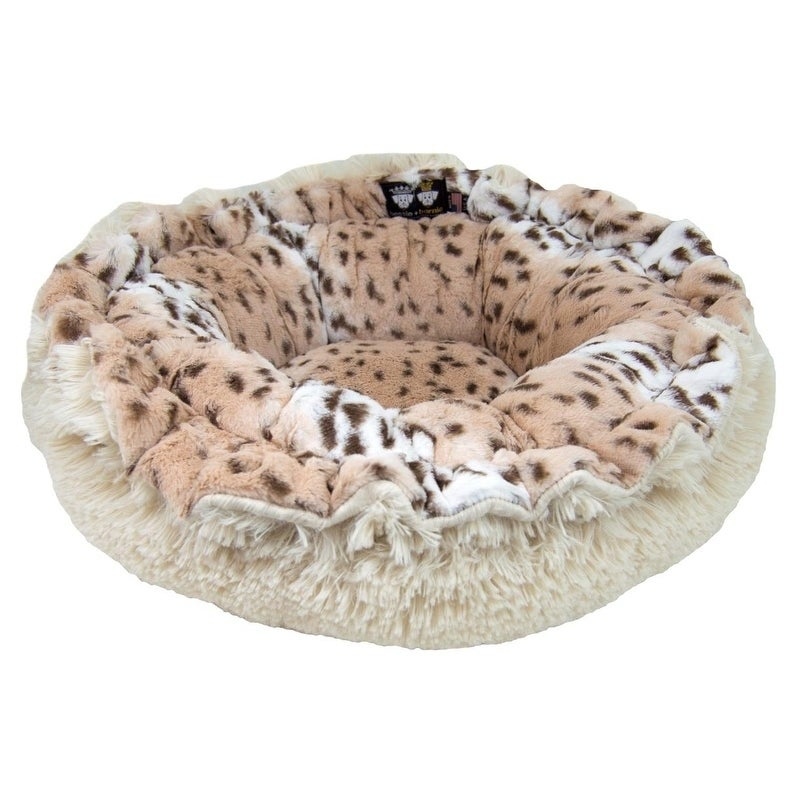 Bessie And Barnie Ultra Plush Aspen Snow Leopard Blon Deluxe Dog Pet Lily Pod Bed On Free Shipping Today 18256950