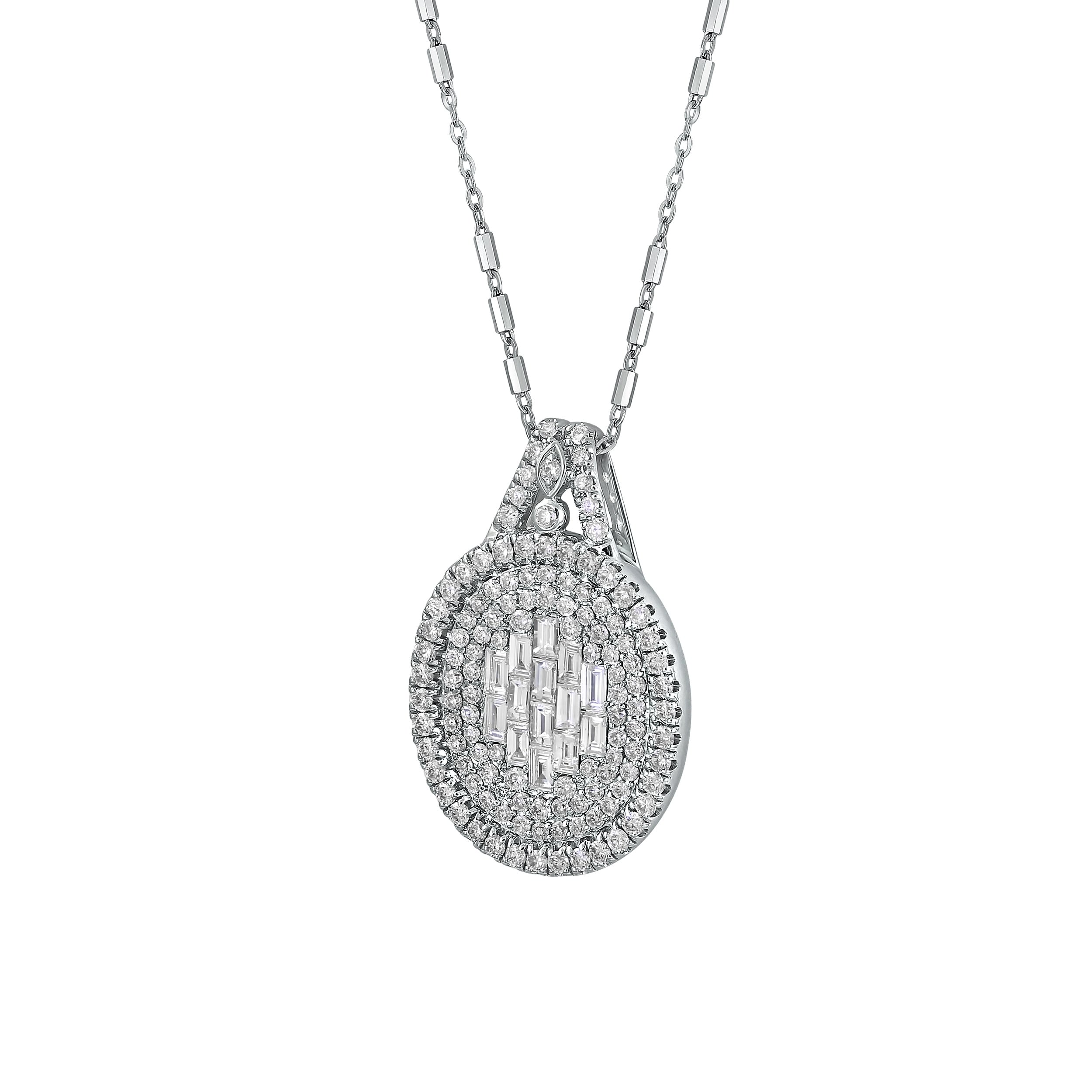 diamond white necklace baguette gold pendant